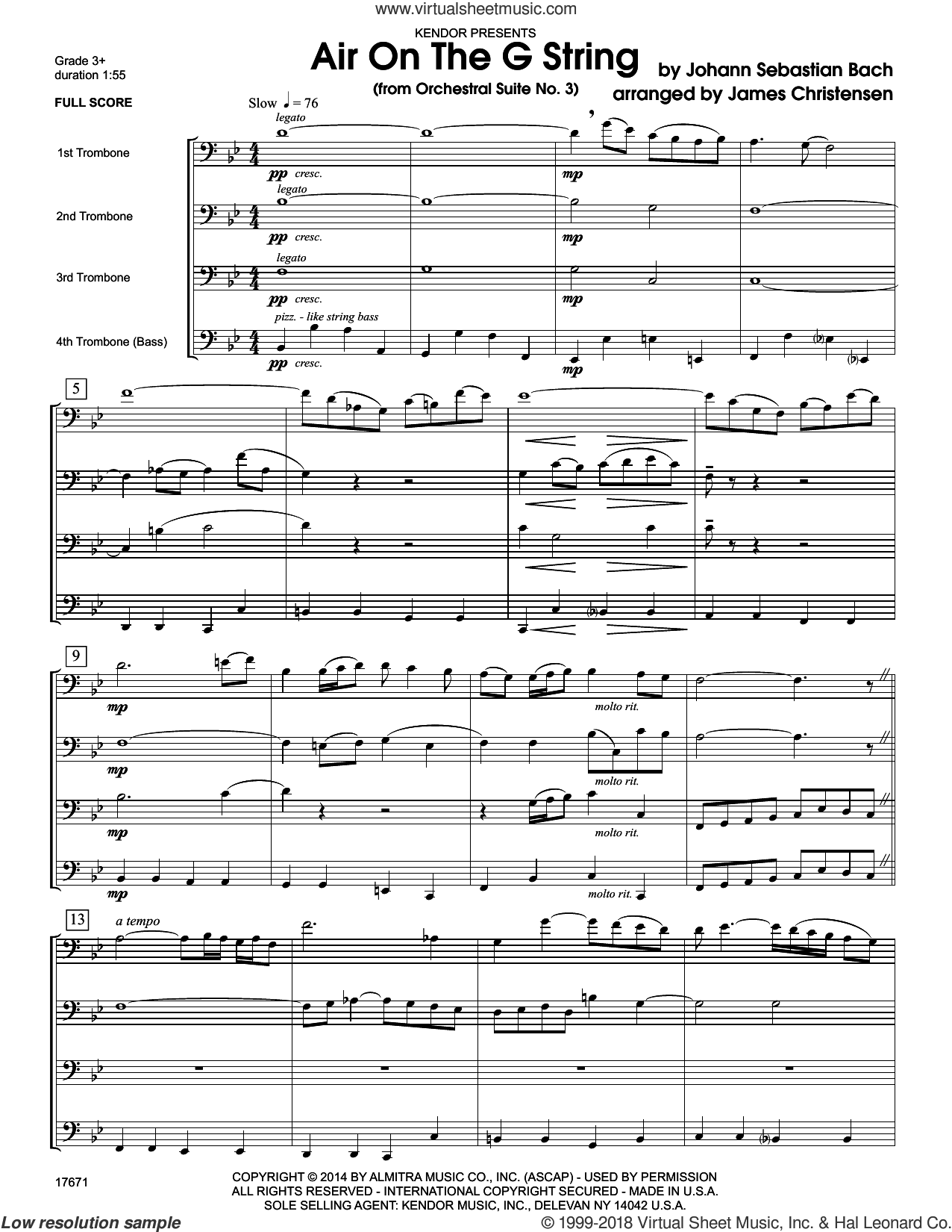 Air On The G String (from Orchestral Suite No. 3) (COMPLETE) sheet music for four trombones by Johann Sebastian Bach and James Christensen, classical score, intermediate four trombones. Score Image Preview.