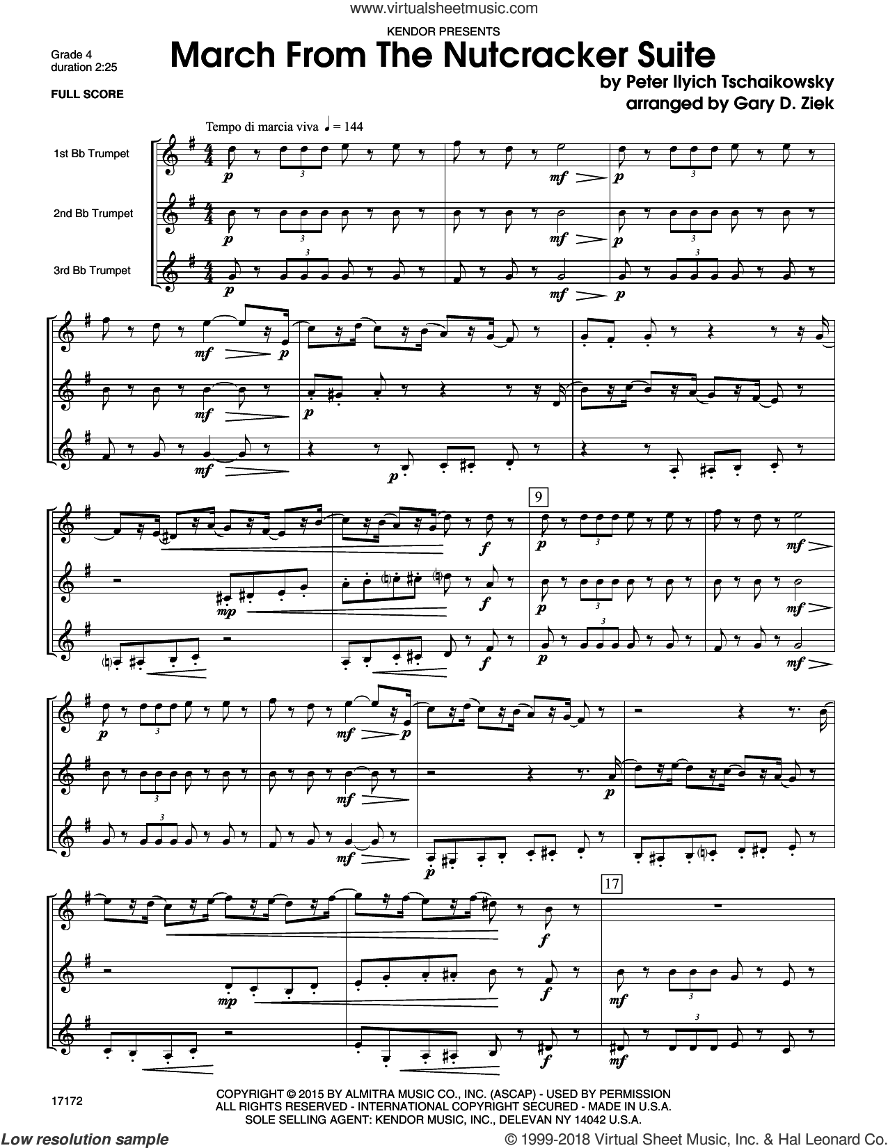 March from the Nutcracker (COMPLETE) sheet music for three trumpets by Gary Ziek and Pyotr Ilyich Tchaikovsky, classical score, intermediate three trumpets. Score Image Preview.