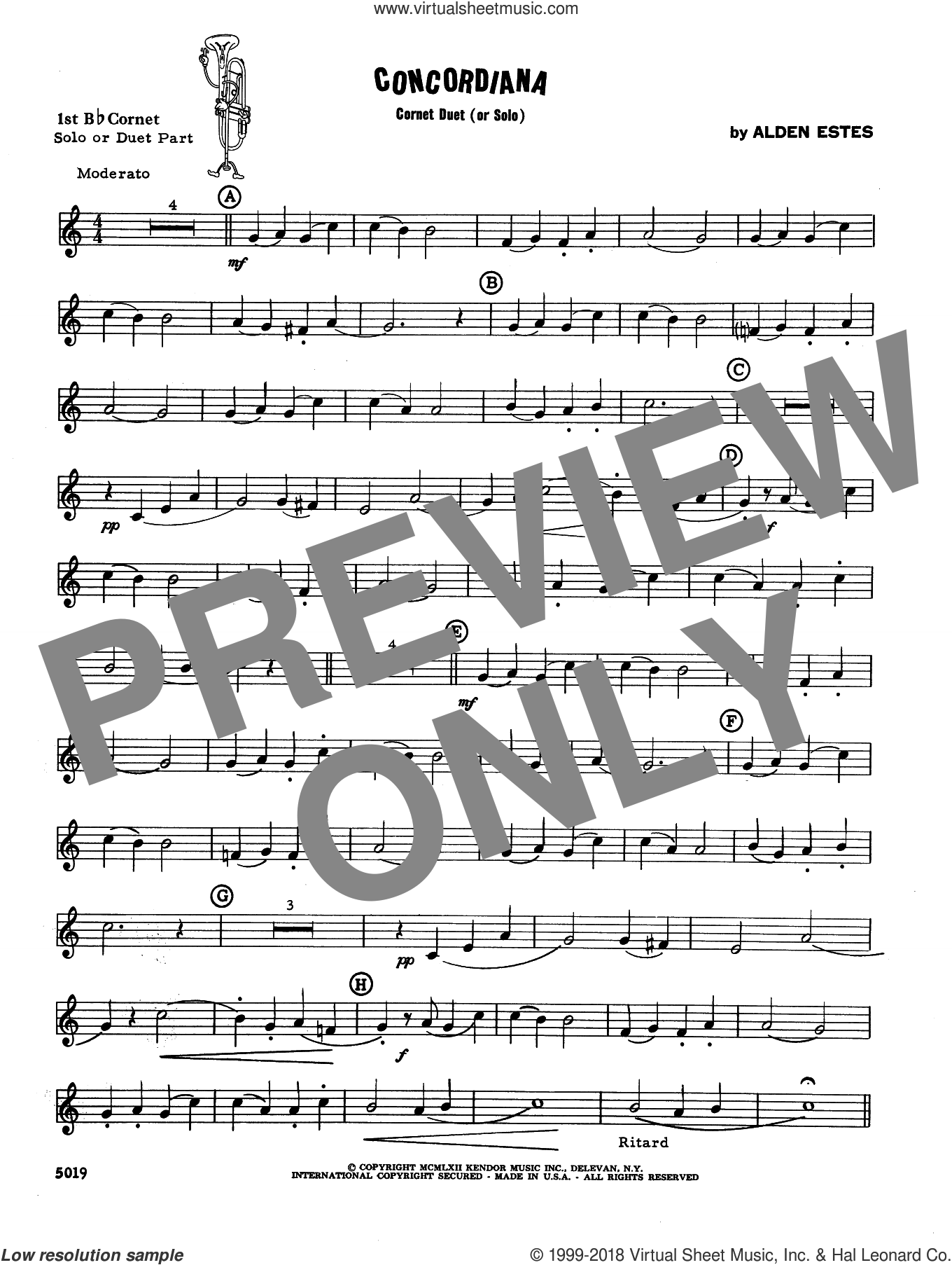 Concordiana (complete set of parts) sheet music for two trumpets and piano by David Estes, intermediate skill level