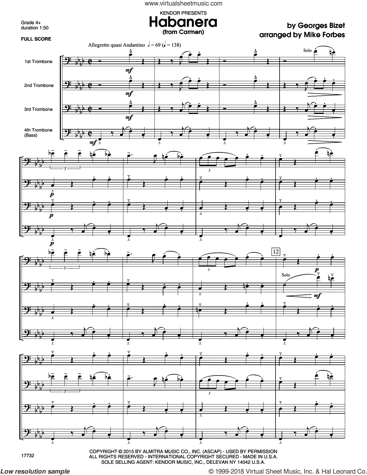 Habanera (from Carmen) (COMPLETE) sheet music for four trombones by Georges Bizet and Michael Forbes, classical score, intermediate skill level