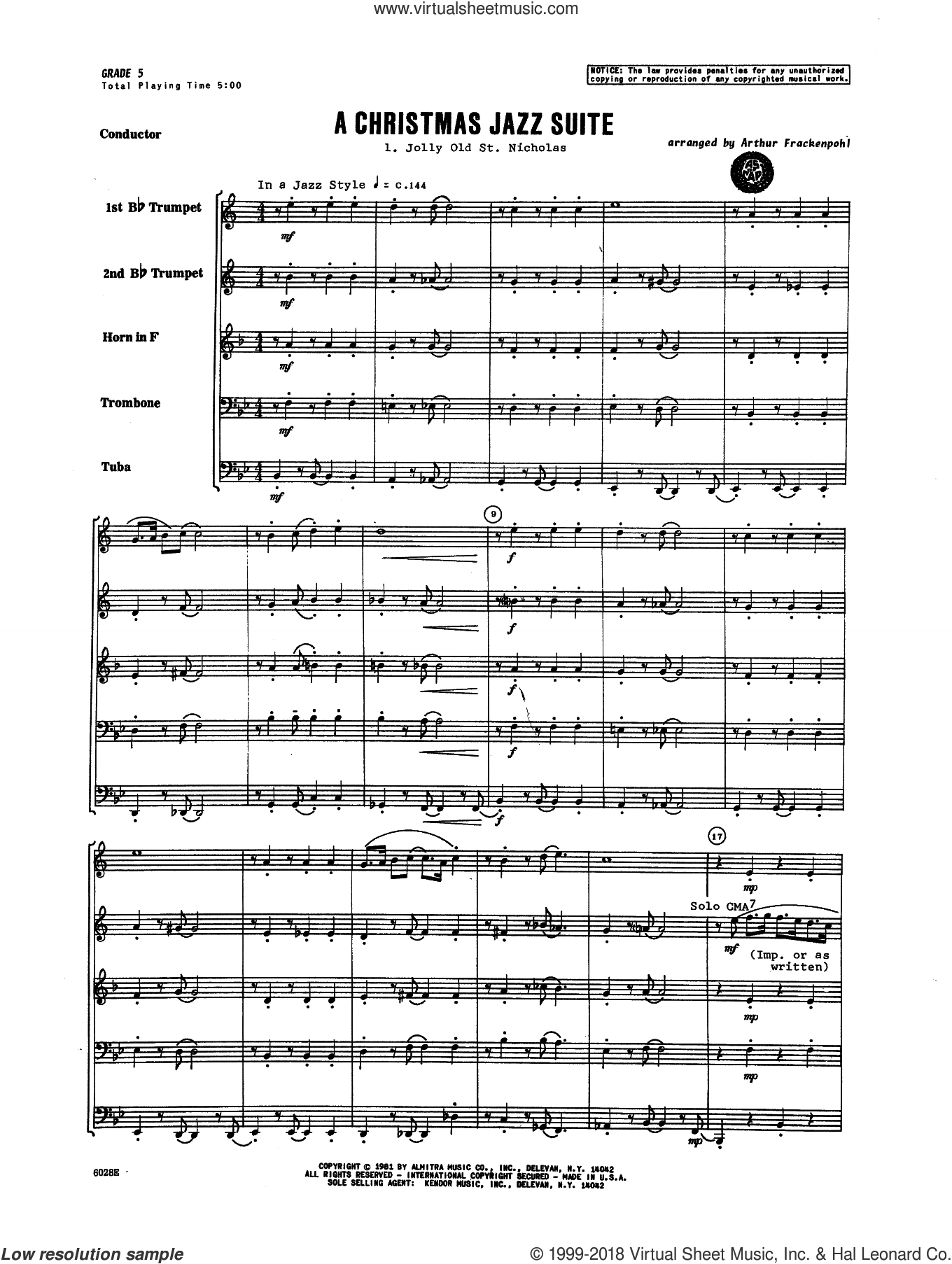 Christmas Jazz Suite (COMPLETE) sheet music for brass quintet by Arthur Frackenpohl and Miscellaneous, intermediate skill level
