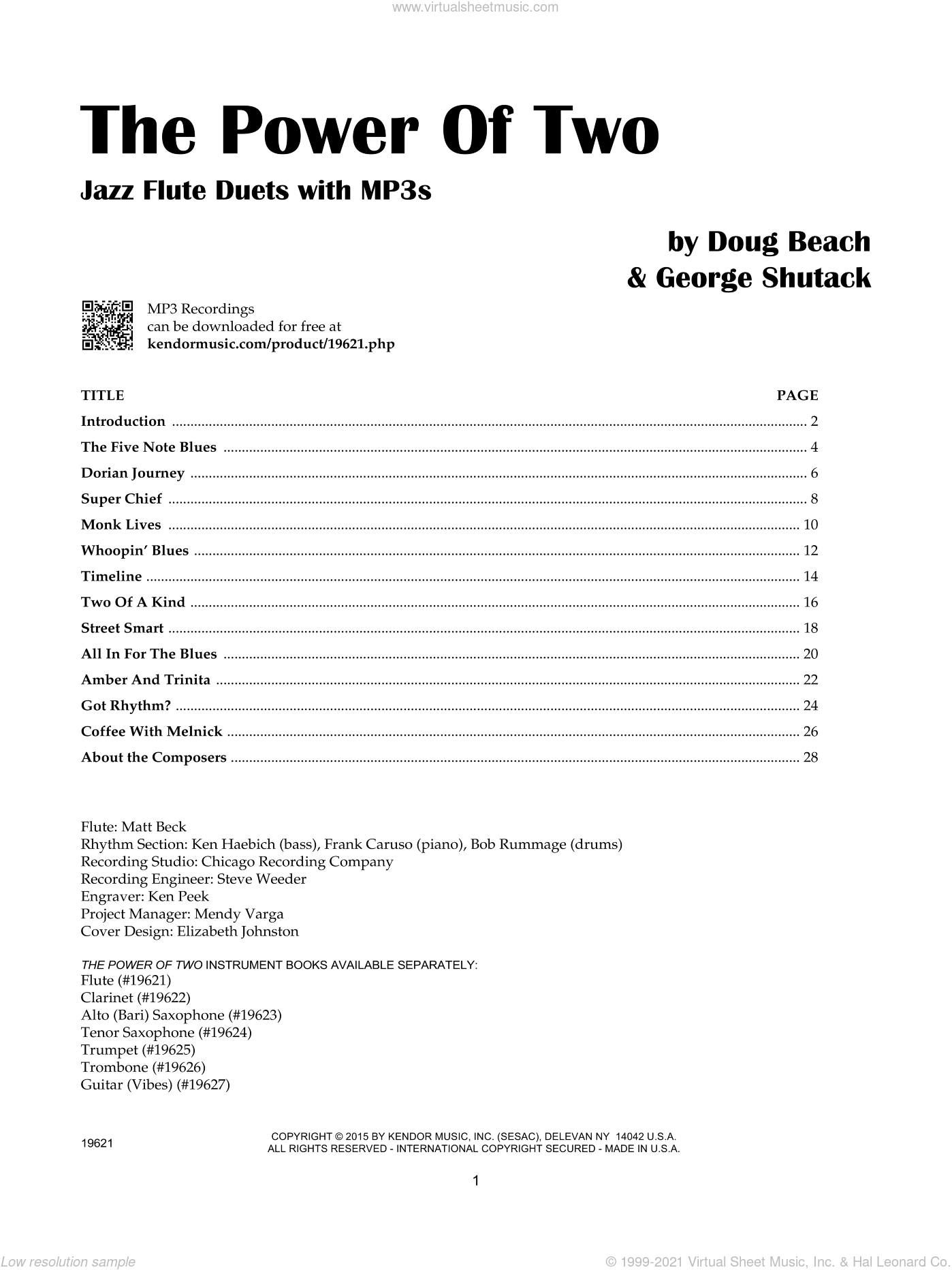 The Power Of Two - Flute sheet music for two flutes by Doug Beach and George Shutack. Score Image Preview.