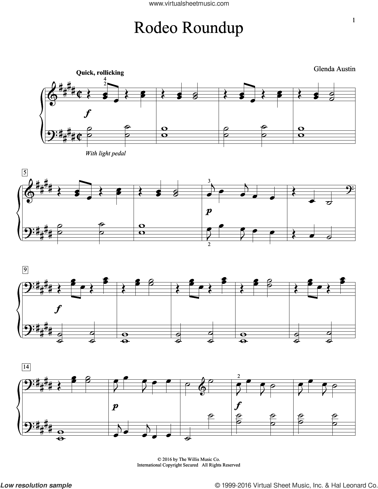 Rodeo Roundup sheet music for piano solo by Glenda Austin, intermediate. Score Image Preview.