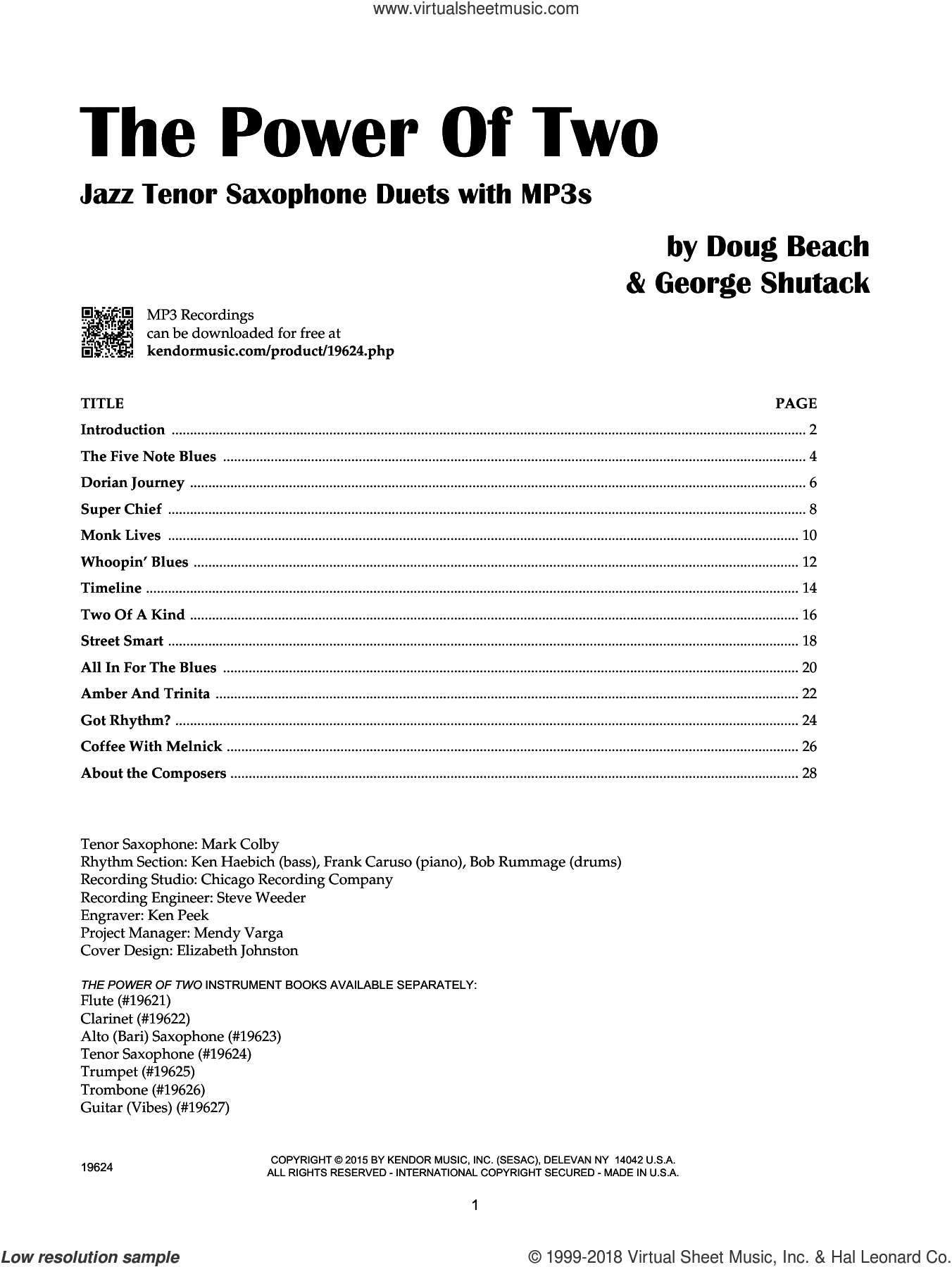 The Power Of Two - Tenor Saxophone sheet music for two tenor saxophones by Doug Beach and George Shutack, intermediate duet. Score Image Preview.
