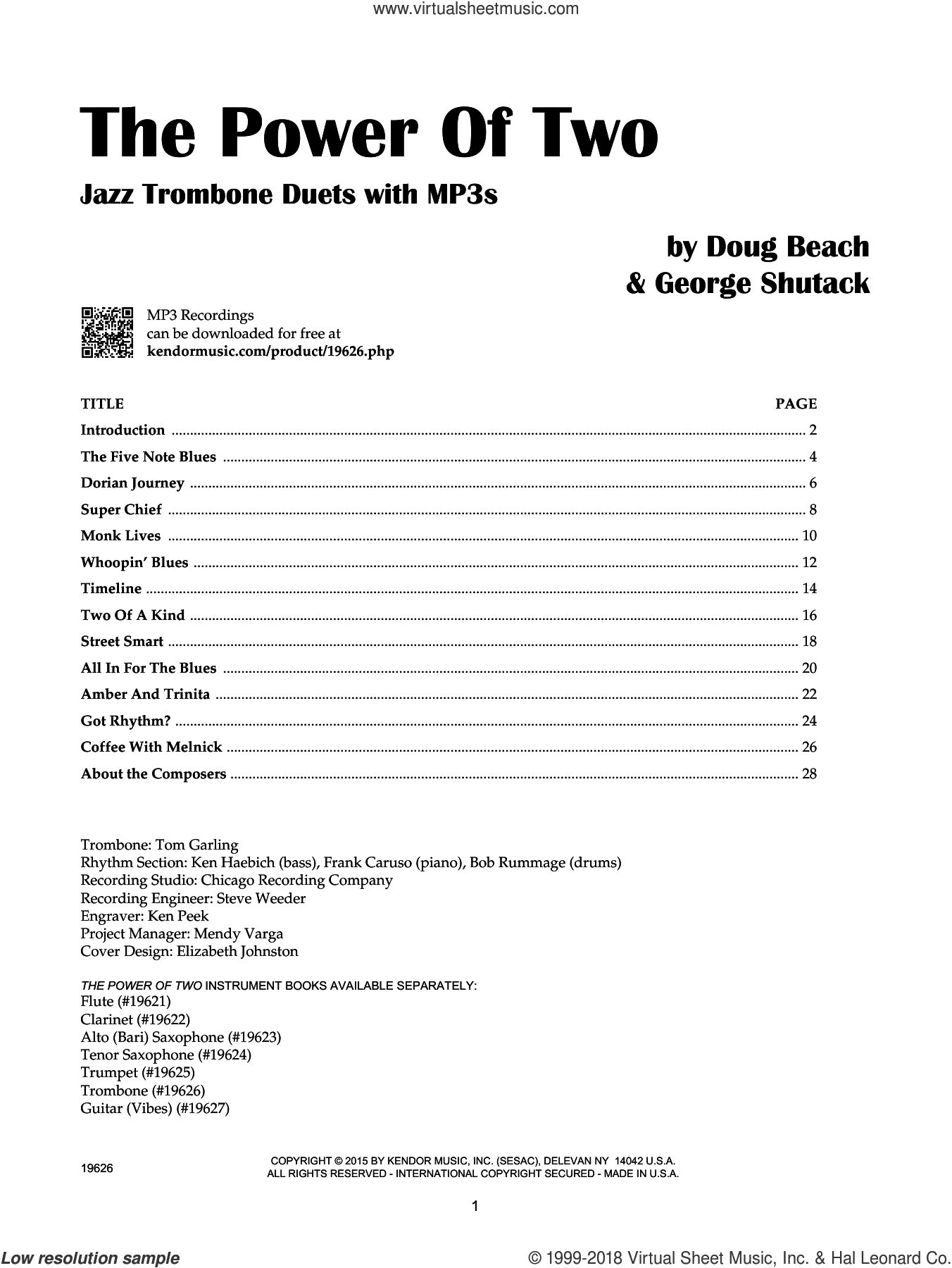 The Power Of Two - Trombone sheet music for two trombones by Doug Beach and George Shutack, intermediate duet