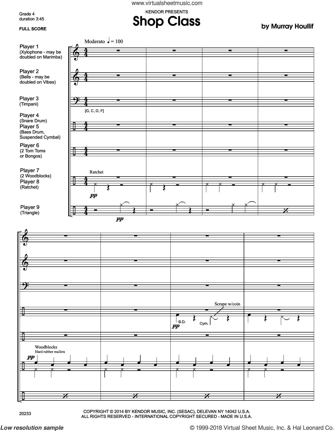 Shop Class sheet music for percussions (full score) by Houllif