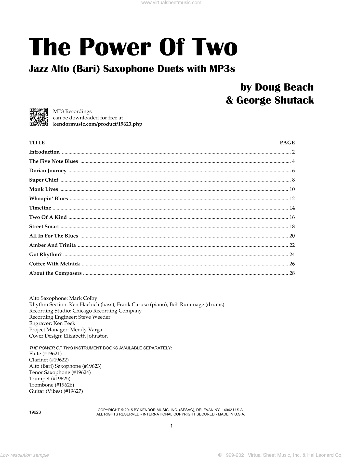 The Power Of Two - Alto (Bari) Saxophone sheet music for two alto saxophones by Doug Beach and George Shutack, intermediate duet
