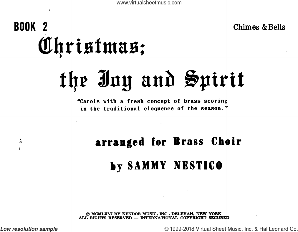 Christmas, The Joy And Spirity, Book 2 - Chimes sheet music for brass ensemble by Sammy Nestico. Score Image Preview.