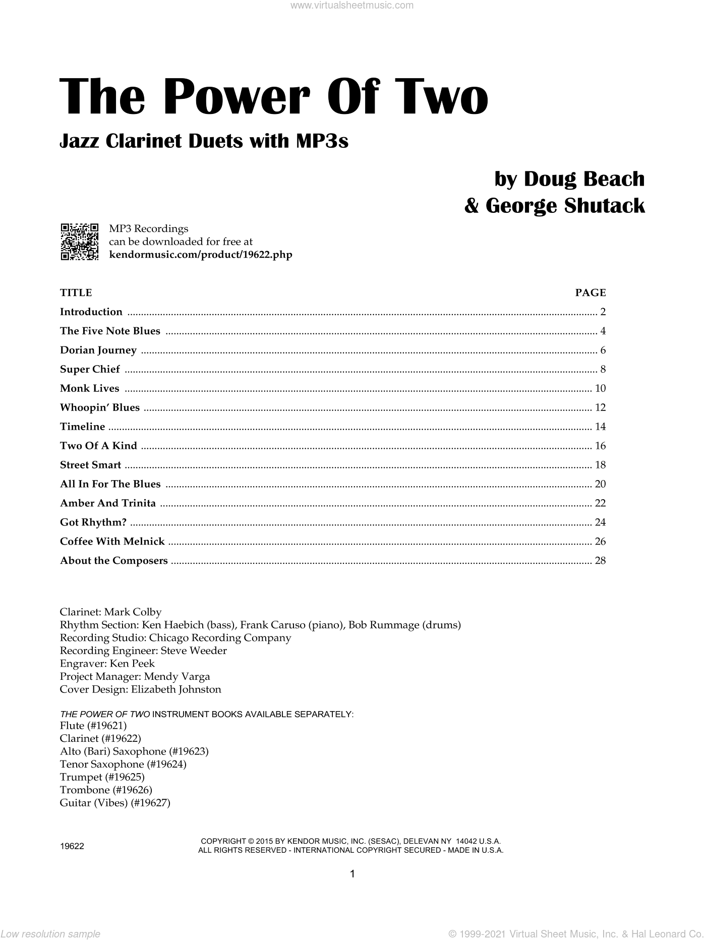 The Power Of Two - Clarinet sheet music for two clarinets by Doug Beach and George Shutack. Score Image Preview.