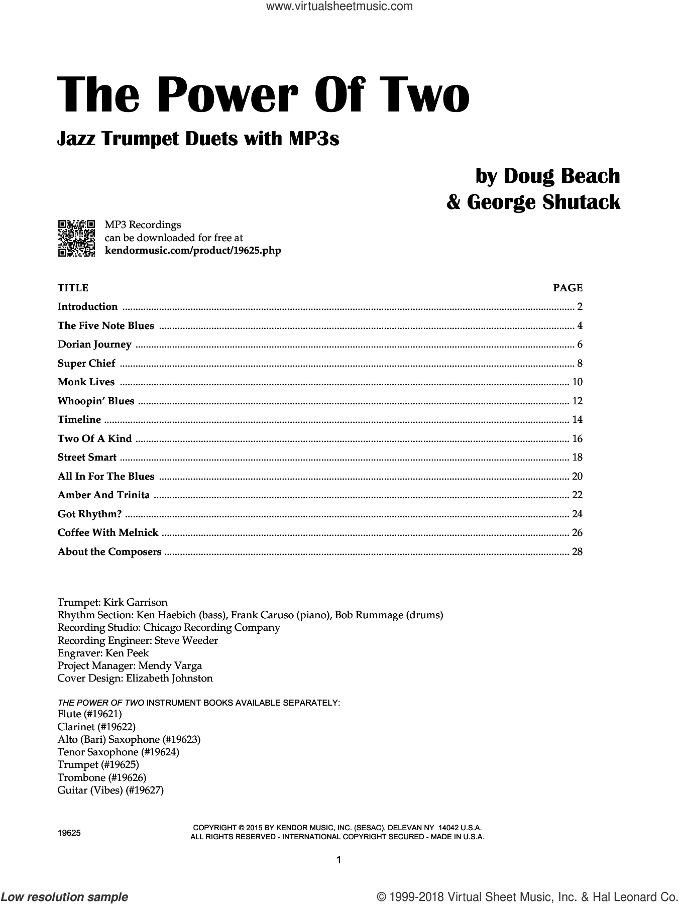 The Power Of Two - Trumpet sheet music for two trumpets by Doug Beach and George Shutack, intermediate duet