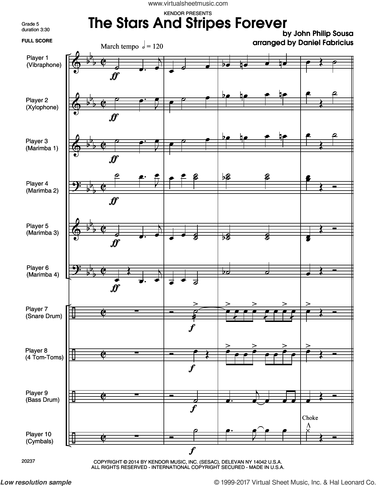 The Stars And Stripes Forever (COMPLETE) sheet music for percussions by John Philip Sousa and Daniel Fabricious, intermediate skill level