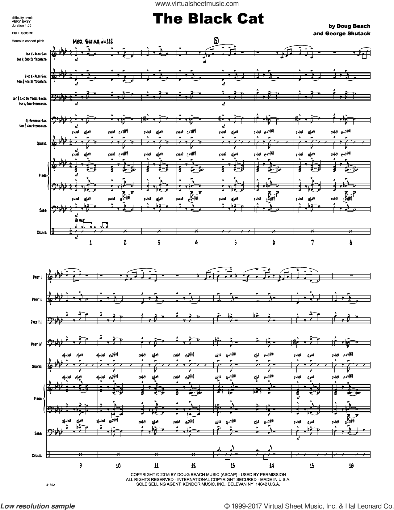 The Black Cat (COMPLETE) sheet music for jazz band by Doug Beach and George Shutack, intermediate. Score Image Preview.