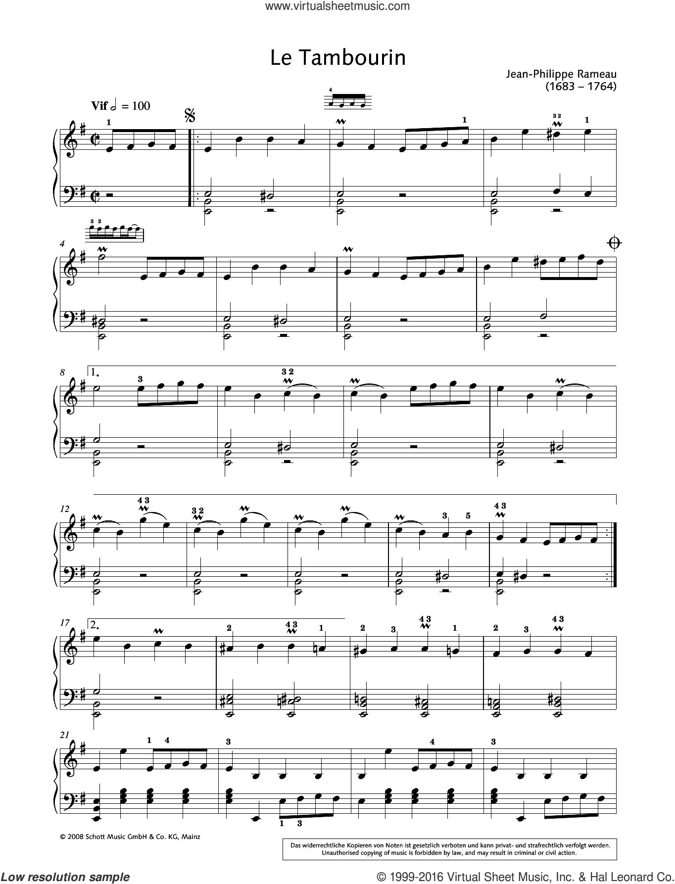 Le Tambourin sheet music for piano solo by Hans-Gunter Heumann and Jean-Philippe Rameau. Score Image Preview.