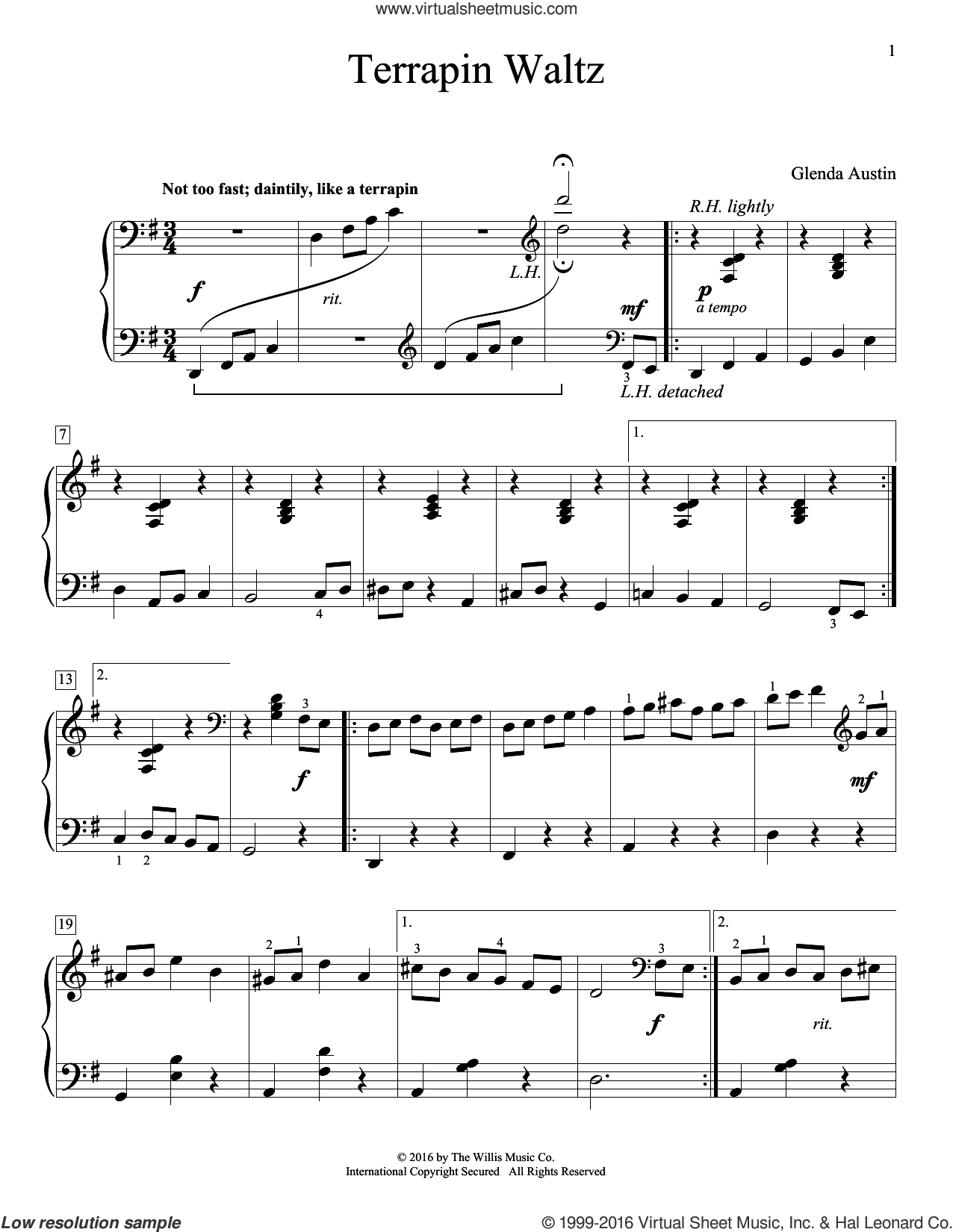 Terrapin Waltz sheet music for piano solo by Glenda Austin. Score Image Preview.