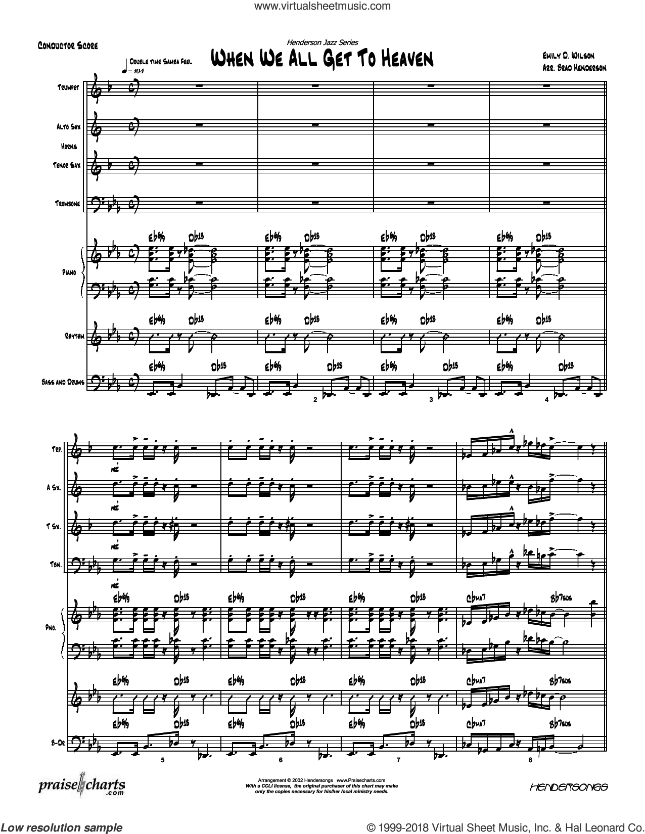 When We All Get to Heaven sheet music for concert band (orchestration, orchestration) by Brad Henderson and Emily D. Wilson, intermediate orchestra. Score Image Preview.