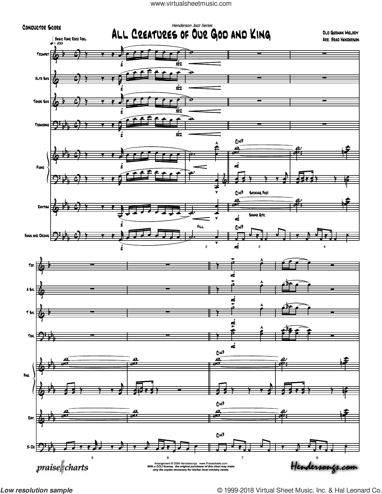 All Creatures of Our God And King sheet music for concert band (orchestration) by Brad Henderson, intermediate skill level