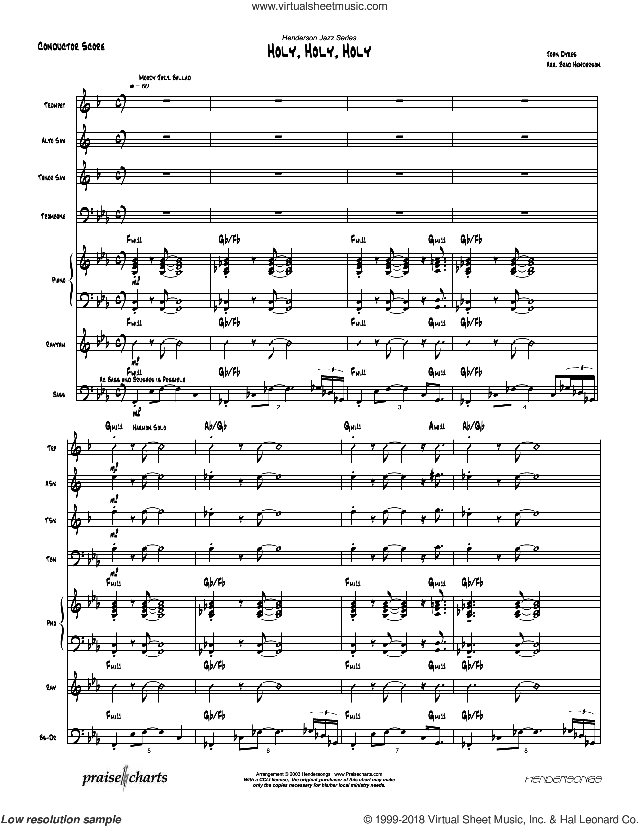 Holy Holy Holy sheet music for jazz band (orchestration) by Brad Henderson and Reginald Heber. Score Image Preview.