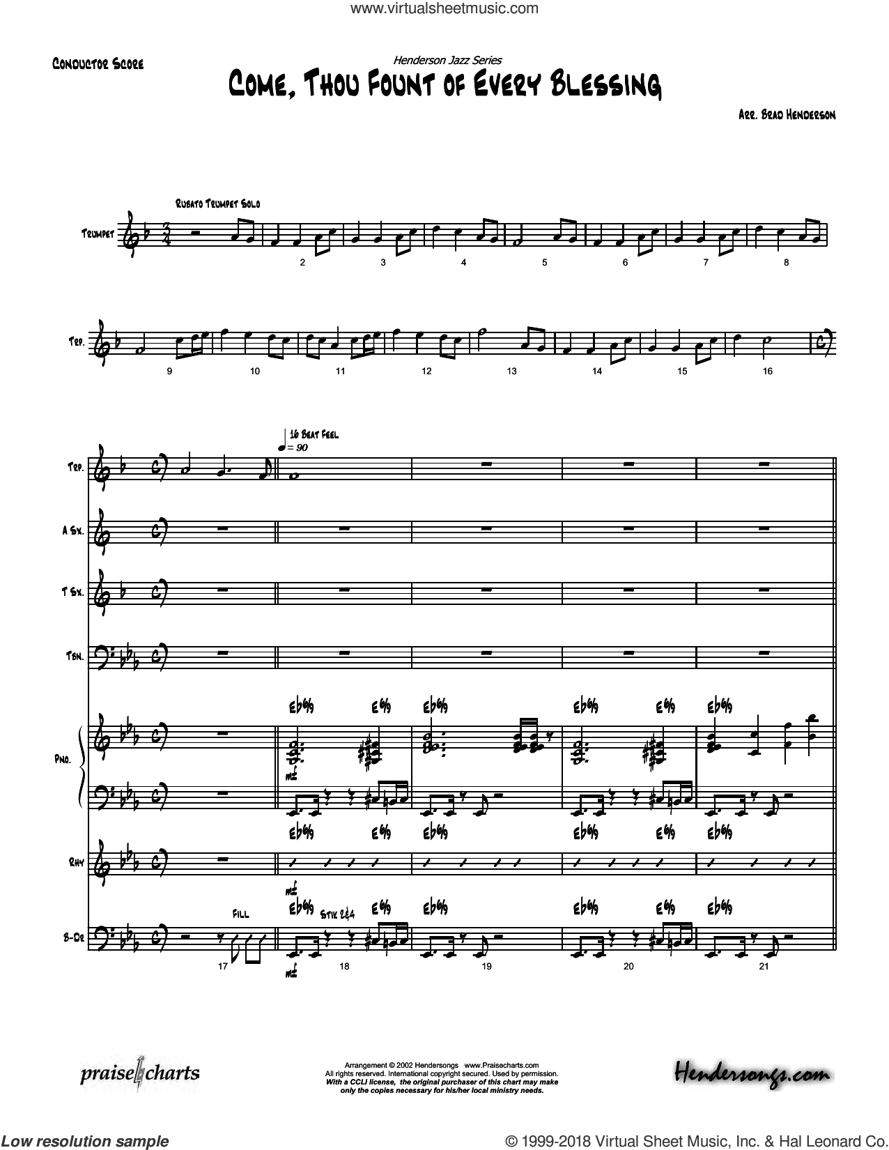 Come Thou Fount of Every Blessing sheet music for jazz band (orchestration) by Brad Henderson and Miscellaneous. Score Image Preview.