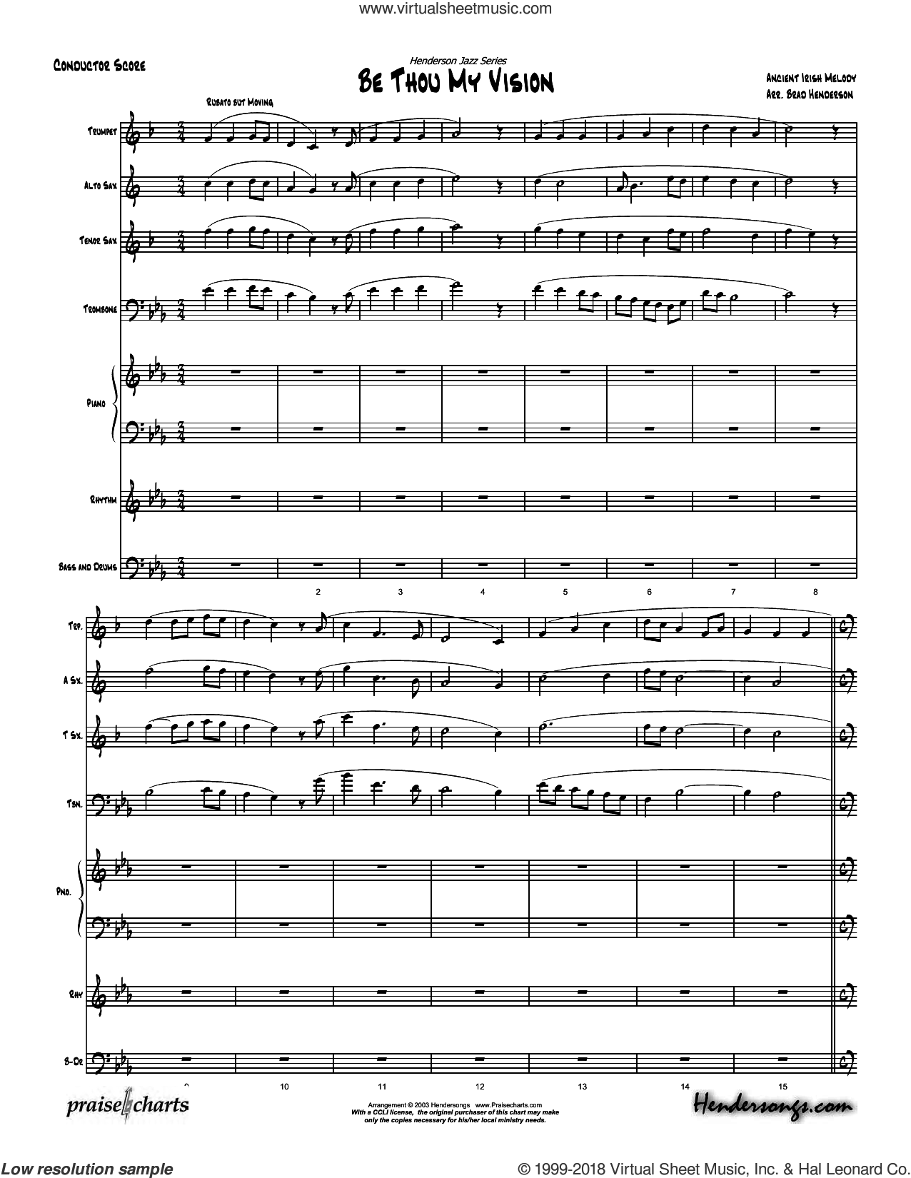 Be Thou My Vision sheet music for concert band (orchestration) by Brad Henderson, intermediate. Score Image Preview.