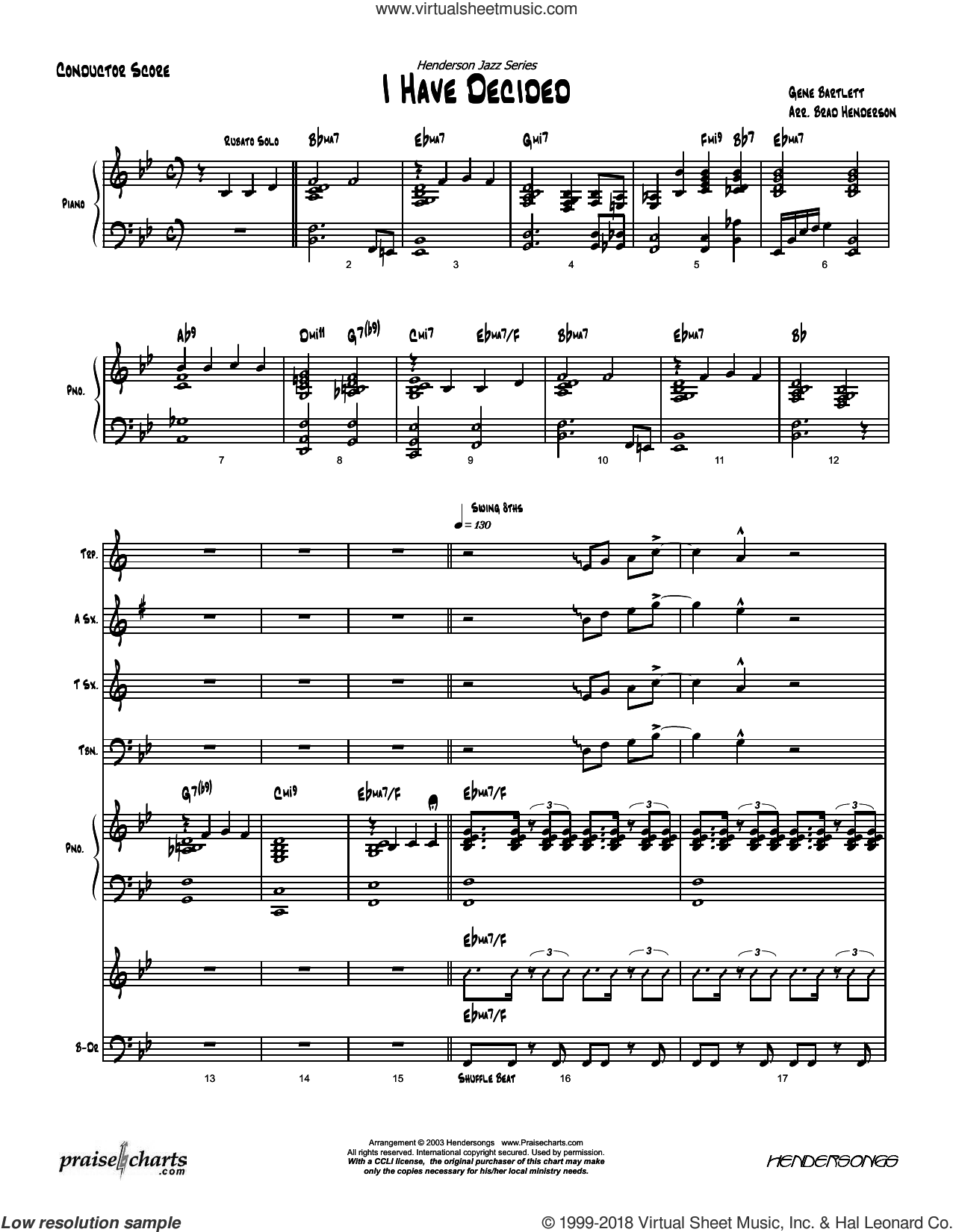 I Have Decided sheet music for concert band (orchestration, orchestration) by Brad Henderson. Score Image Preview.