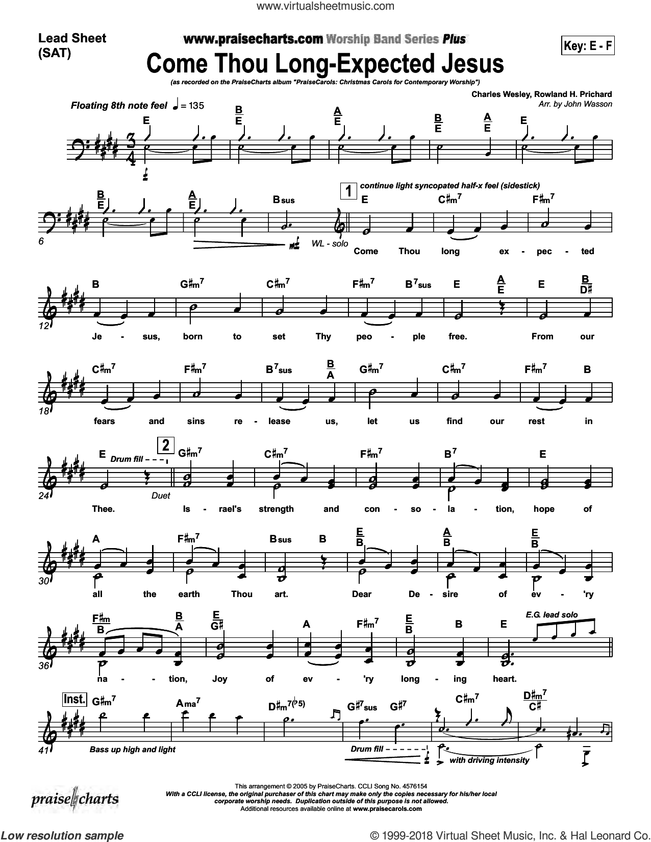 Come Thou Long Expected Jesus sheet music for concert band (orchestration) by John Wasson and Charles Wesley/Rowland Prichard, intermediate skill level