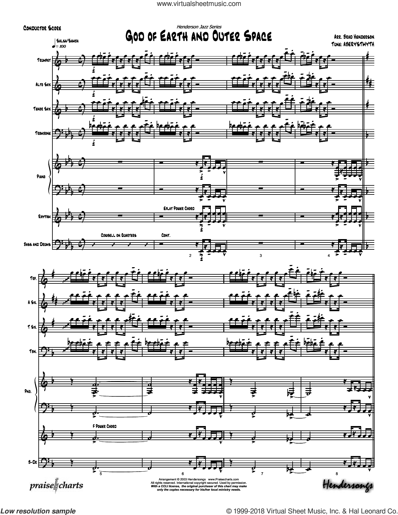 God Of Earth And Outer Space sheet music for concert band (orchestration) by Brad Henderson and Miscellaneous, intermediate skill level