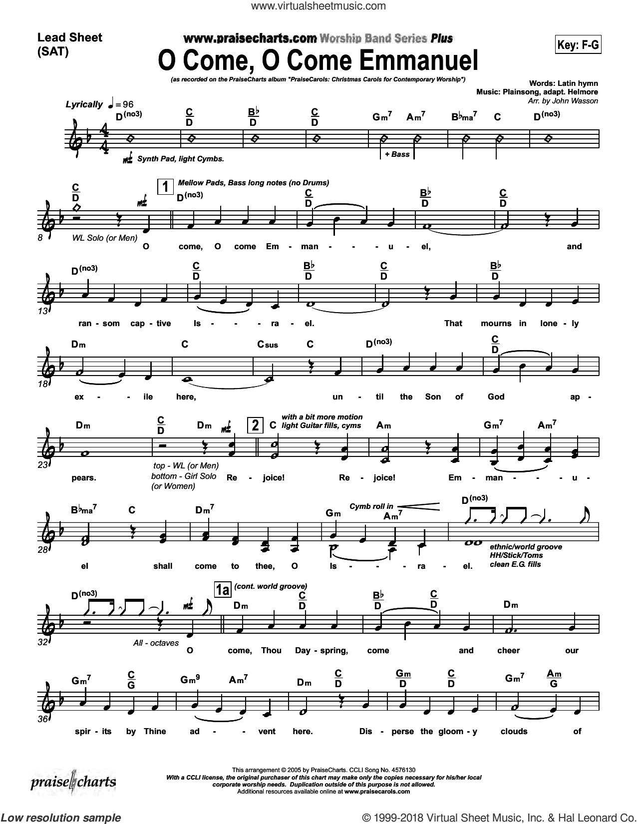 O Come O Come Emmanuel sheet music for concert band (orchestration, orchestration) by John Wasson. Score Image Preview.