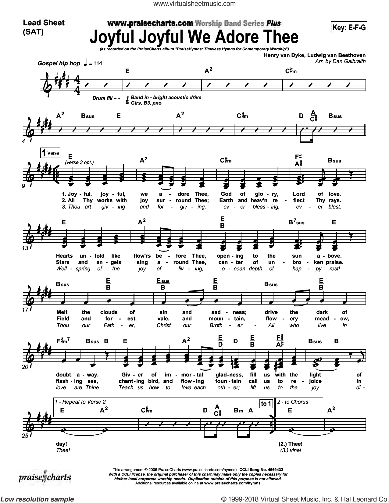 Joyful Joyful We Adore Thee sheet music for concert band (orchestration) by Dan Galbraith, intermediate. Score Image Preview.