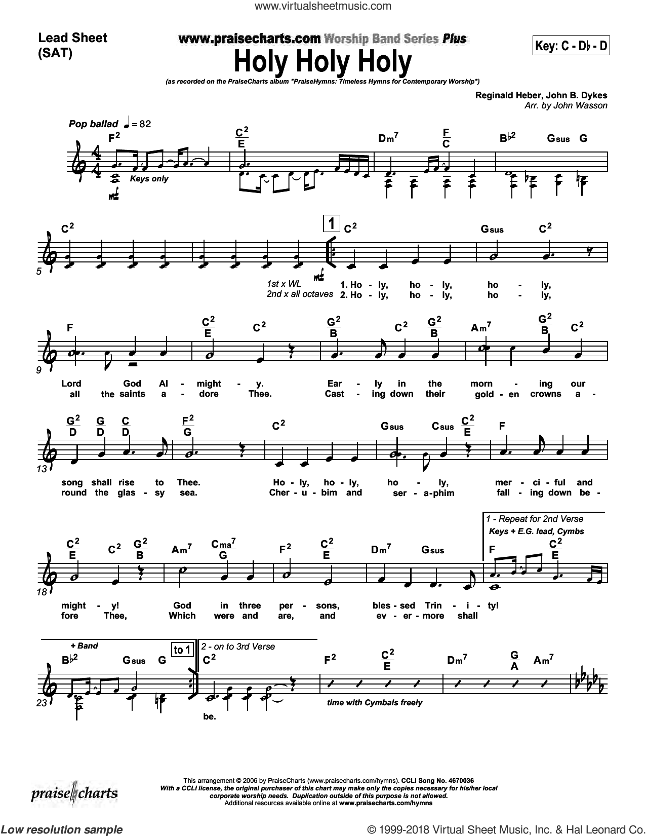 Holy Holy Holy sheet music for concert band (orchestration) by John Wasson and John Dykes/Reginald Heber, intermediate skill level