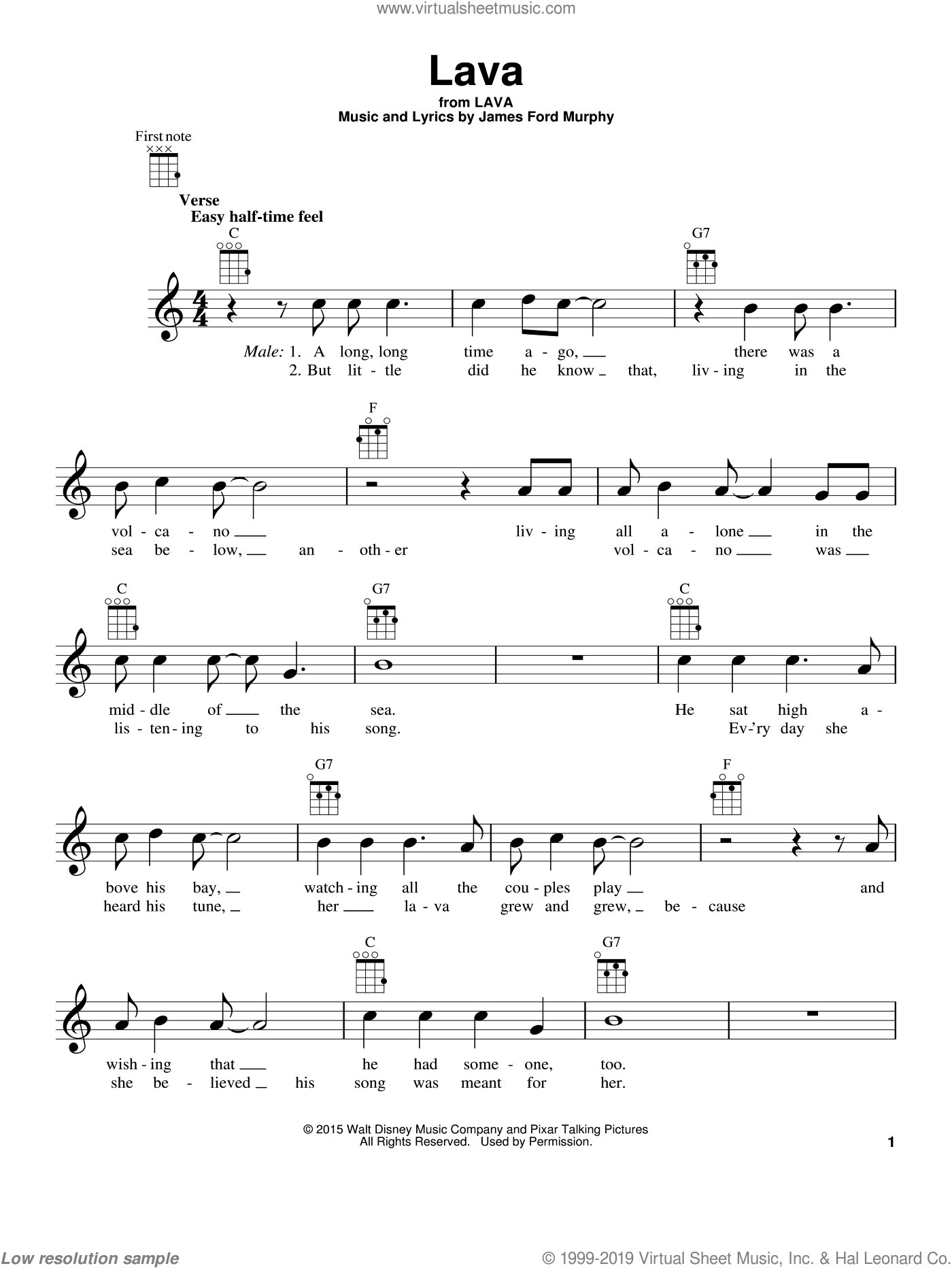 Lava sheet music for ukulele by James Ford Murphy, intermediate skill level