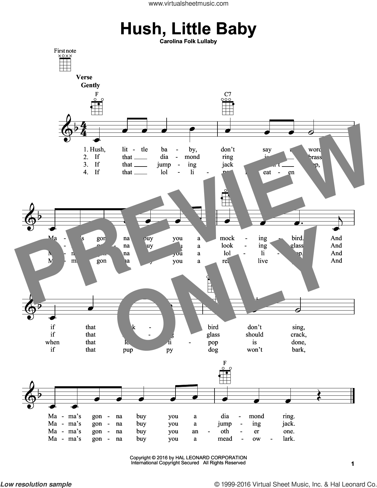 Hush, Little Baby sheet music for ukulele by Carolina Folk Lullaby, intermediate skill level
