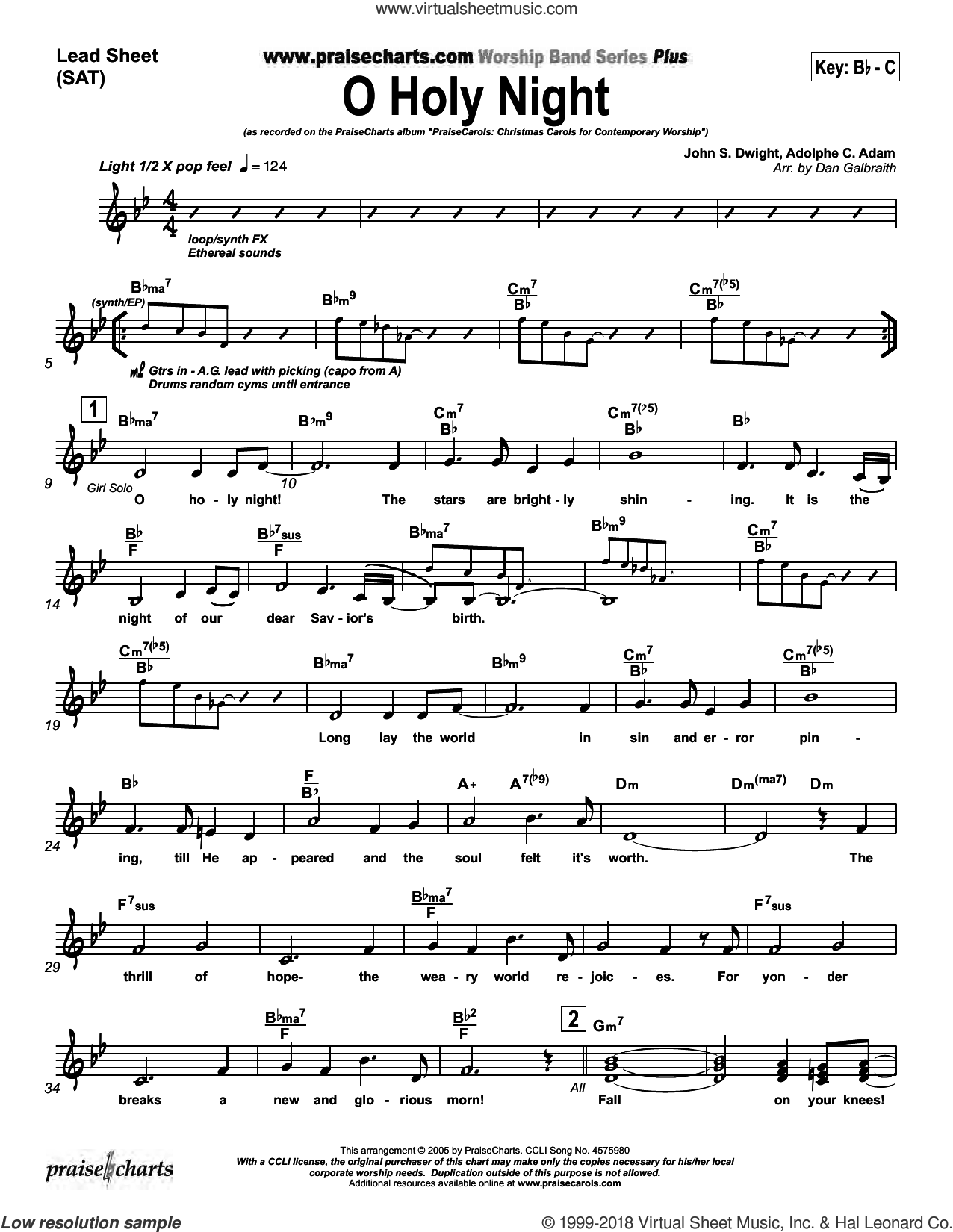 O Holy Night sheet music for voice and other instruments (fake book, orchestration) by Dan Galbraith and Adolphe Adam/Chappeau de Roquemaure/John Dwight. Score Image Preview.