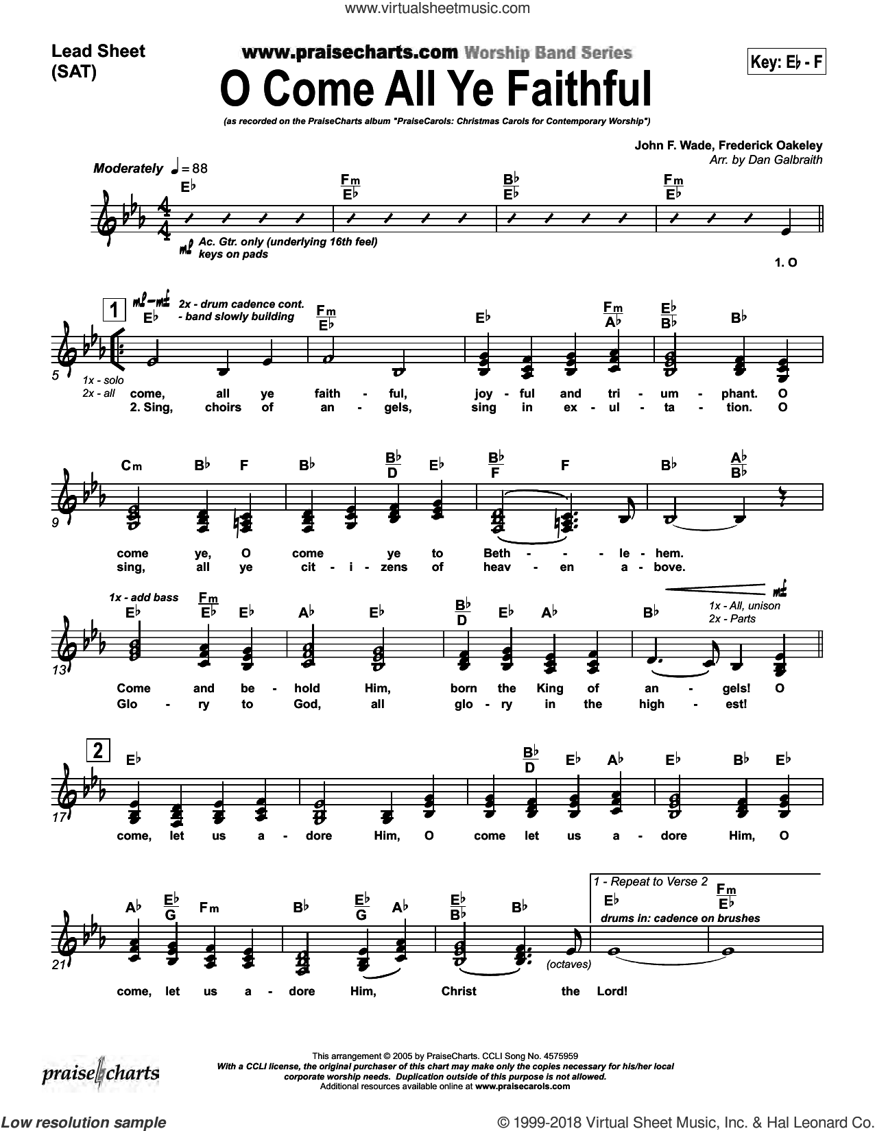 O Come All Ye Faithful sheet music for concert band (orchestration) by Dan Galbraith and Frederick Oakeley/John Wade, intermediate. Score Image Preview.