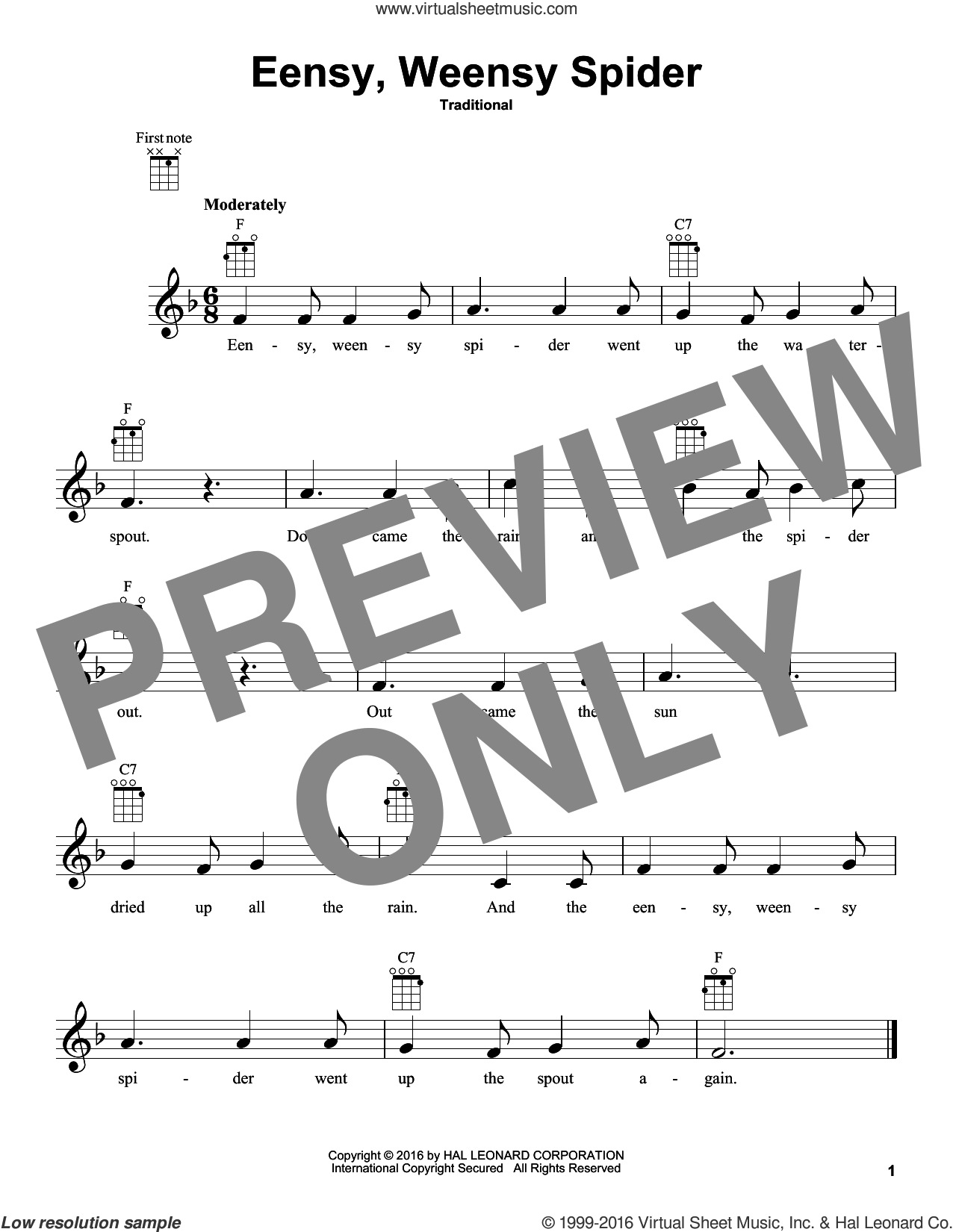 Eensy Weensy Spider sheet music for ukulele. Score Image Preview.