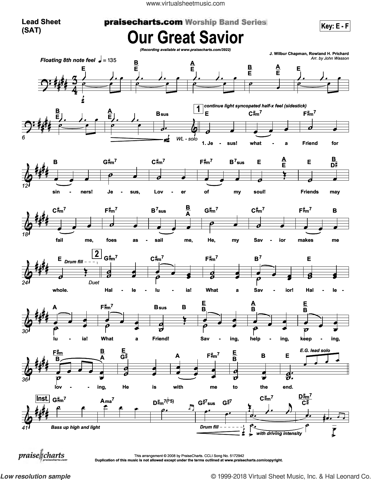 Our Great Savior sheet music for concert band (orchestration) by John Wasson and Rowland Prichard, intermediate. Score Image Preview.