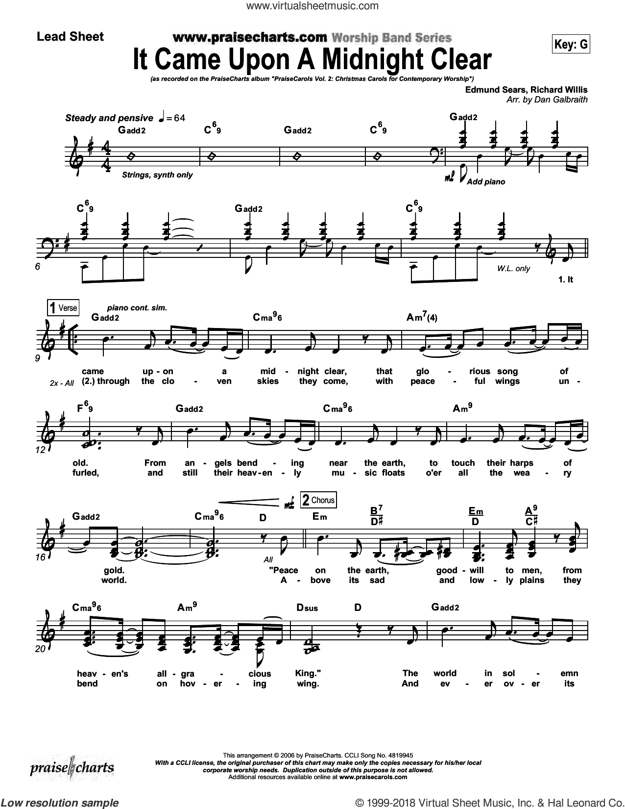 It Came upon a Midnight Clear sheet music for concert band (orchestration, orchestration) by Dan Galbraith and Edmund Sears/Richard Willis/Dan Galbraith. Score Image Preview.