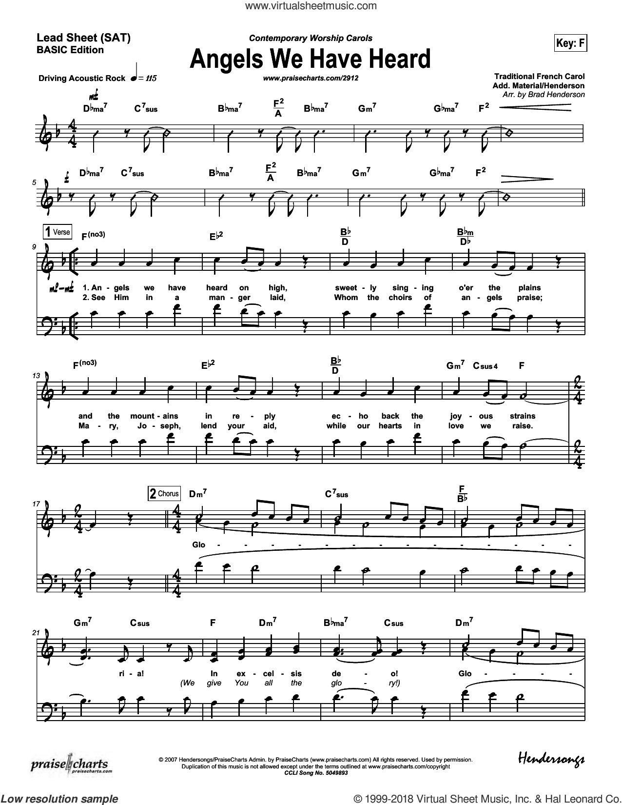 Angels We Have Heard on High sheet music for concert band (orchestration) by Brad Henderson and Dennis Jernigan, intermediate