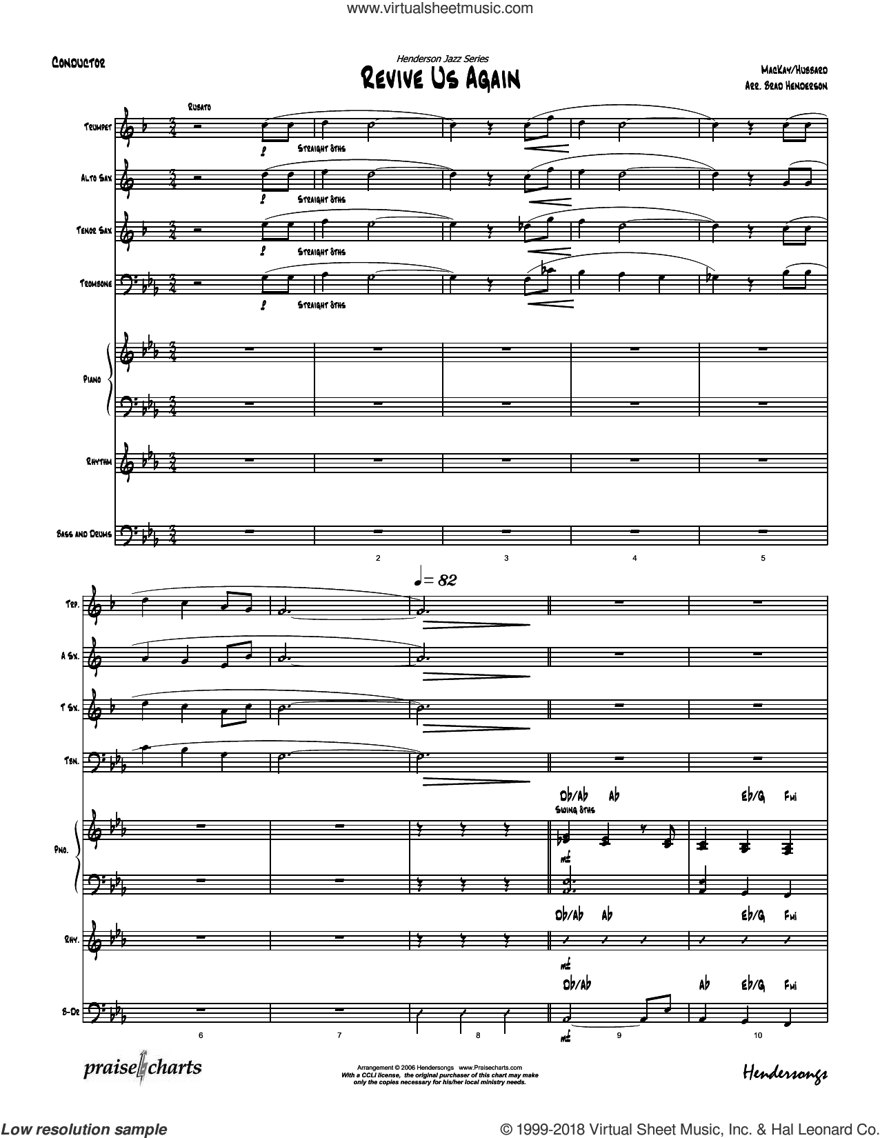 Revive Us Lord sheet music for jazz band (orchestration) by Brad Henderson and MacKay / Hubbard. Score Image Preview.