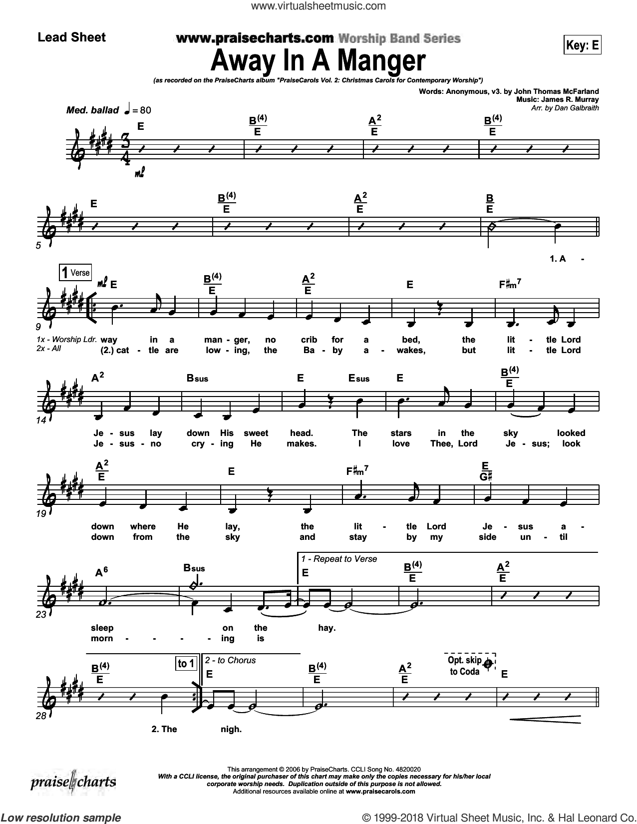 Away In A Manger sheet music for concert band (orchestration, orchestration) by Dan Galbraith. Score Image Preview.