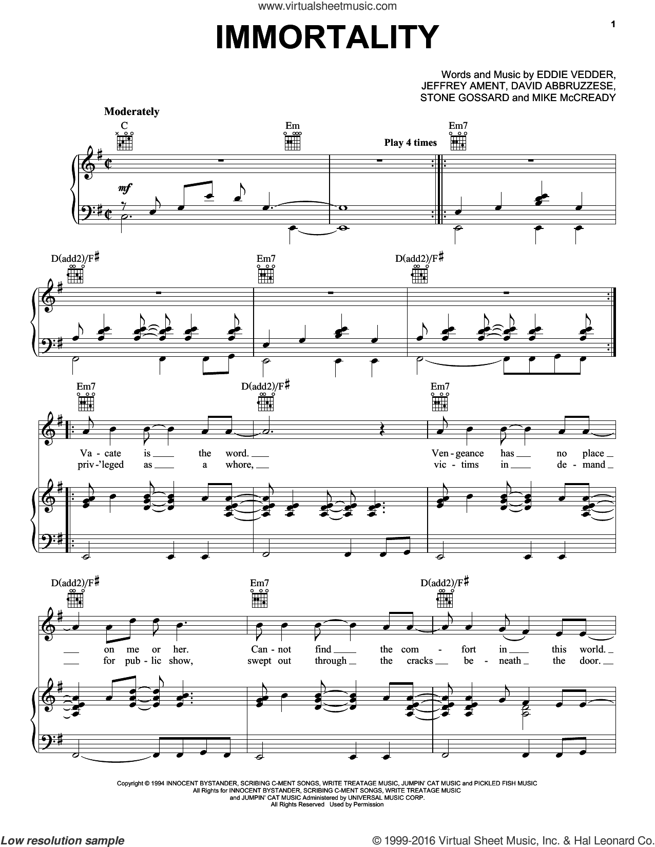 Immortality sheet music for voice, piano or guitar by Pearl Jam, David Abbruzzese, Eddie Vedder, Jeffrey Ament, Michael McCready and Stone Gossard, intermediate skill level