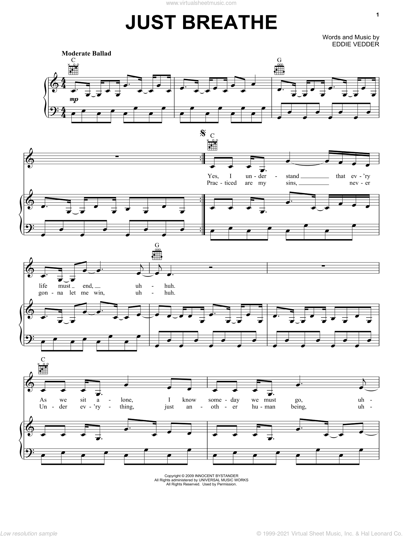 Just Breathe sheet music for voice, piano or guitar by Pearl Jam and Eddie Vedder, intermediate skill level