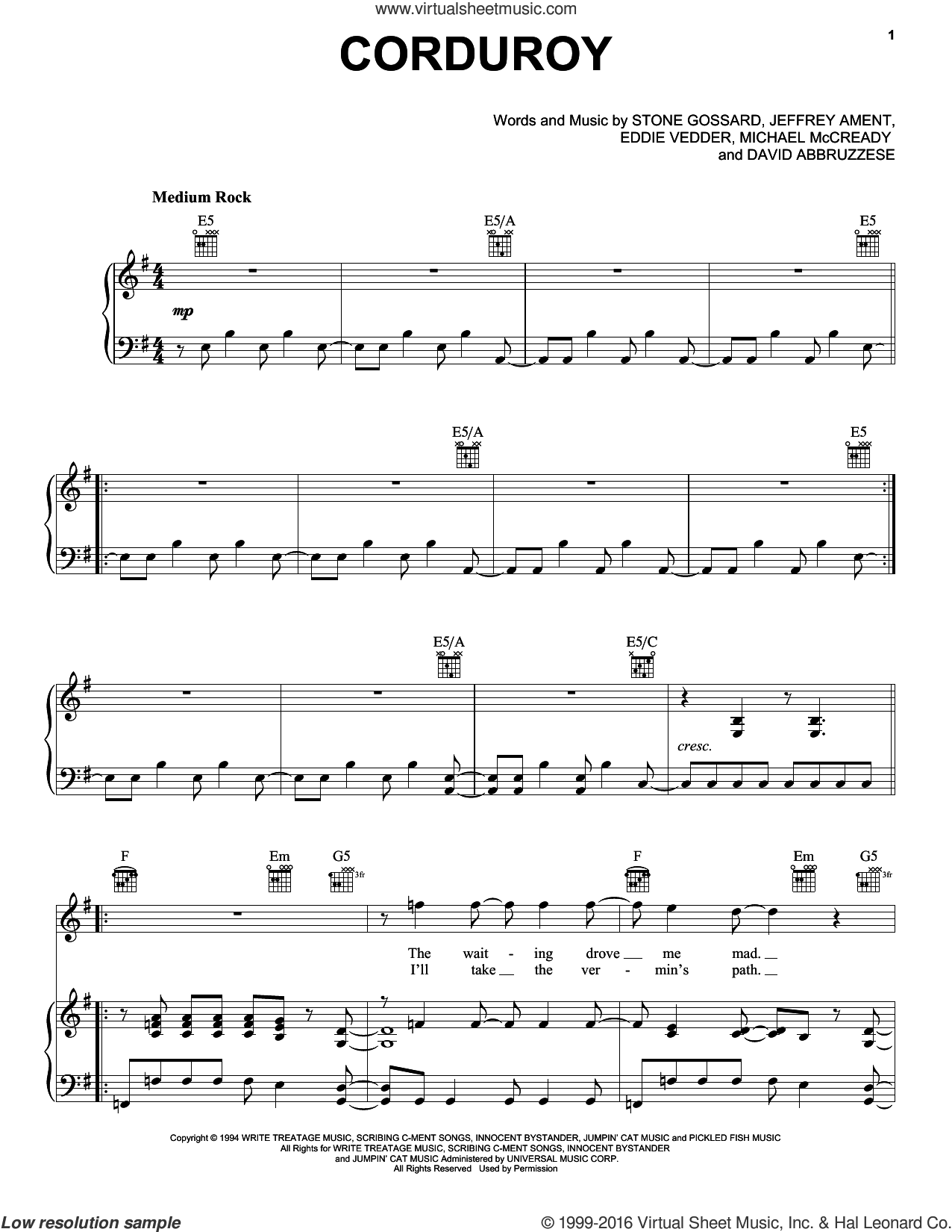 Corduroy sheet music for voice, piano or guitar by Pearl Jam, David Abbruzzese, Eddie Vedder, Jeff Ament, Michael McCready and Stone Gossard, intermediate skill level