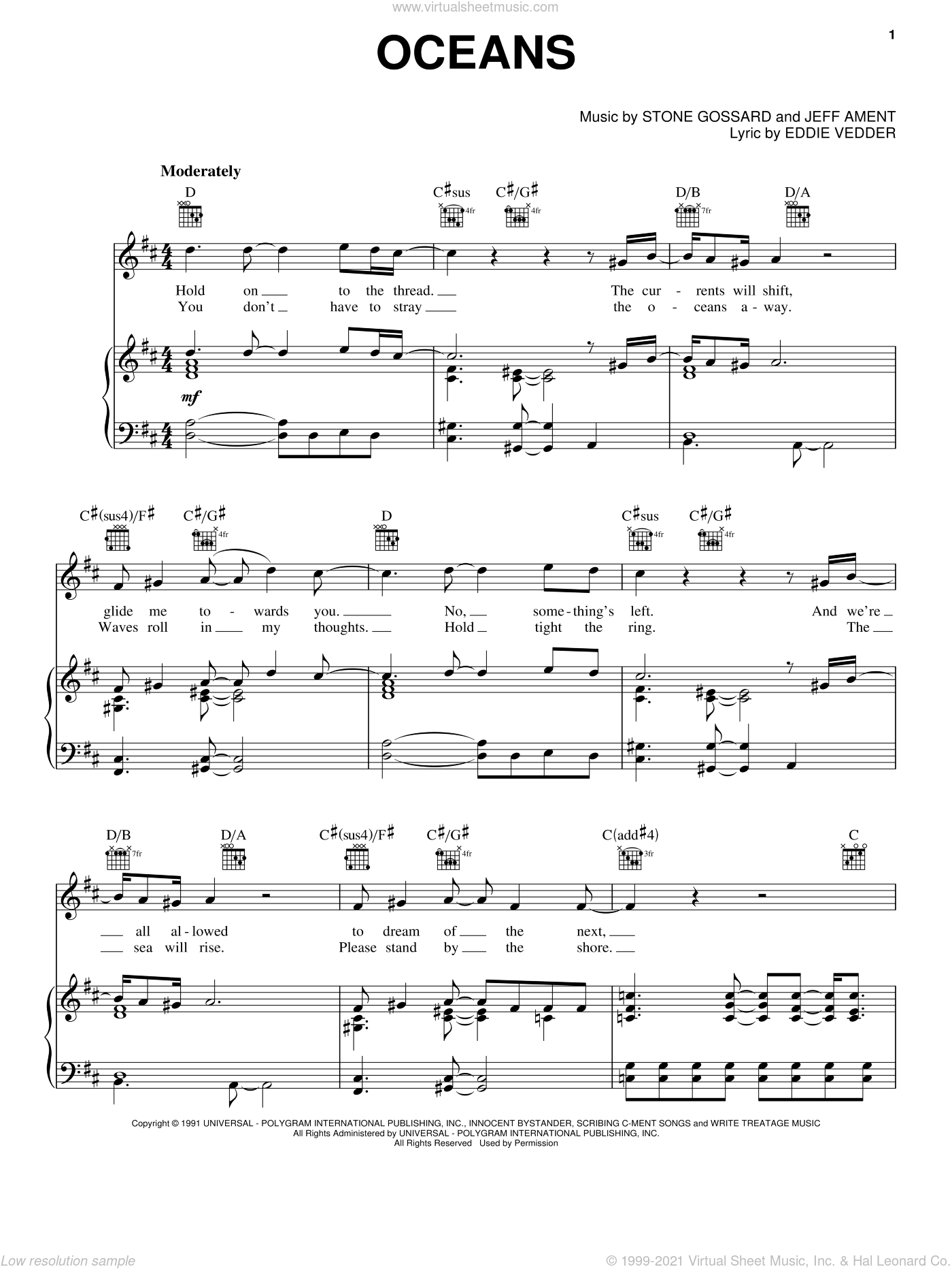 Oceans sheet music for voice, piano or guitar by Stone Gossard, Pearl Jam, Eddie Vedder and Jeff Ament. Score Image Preview.
