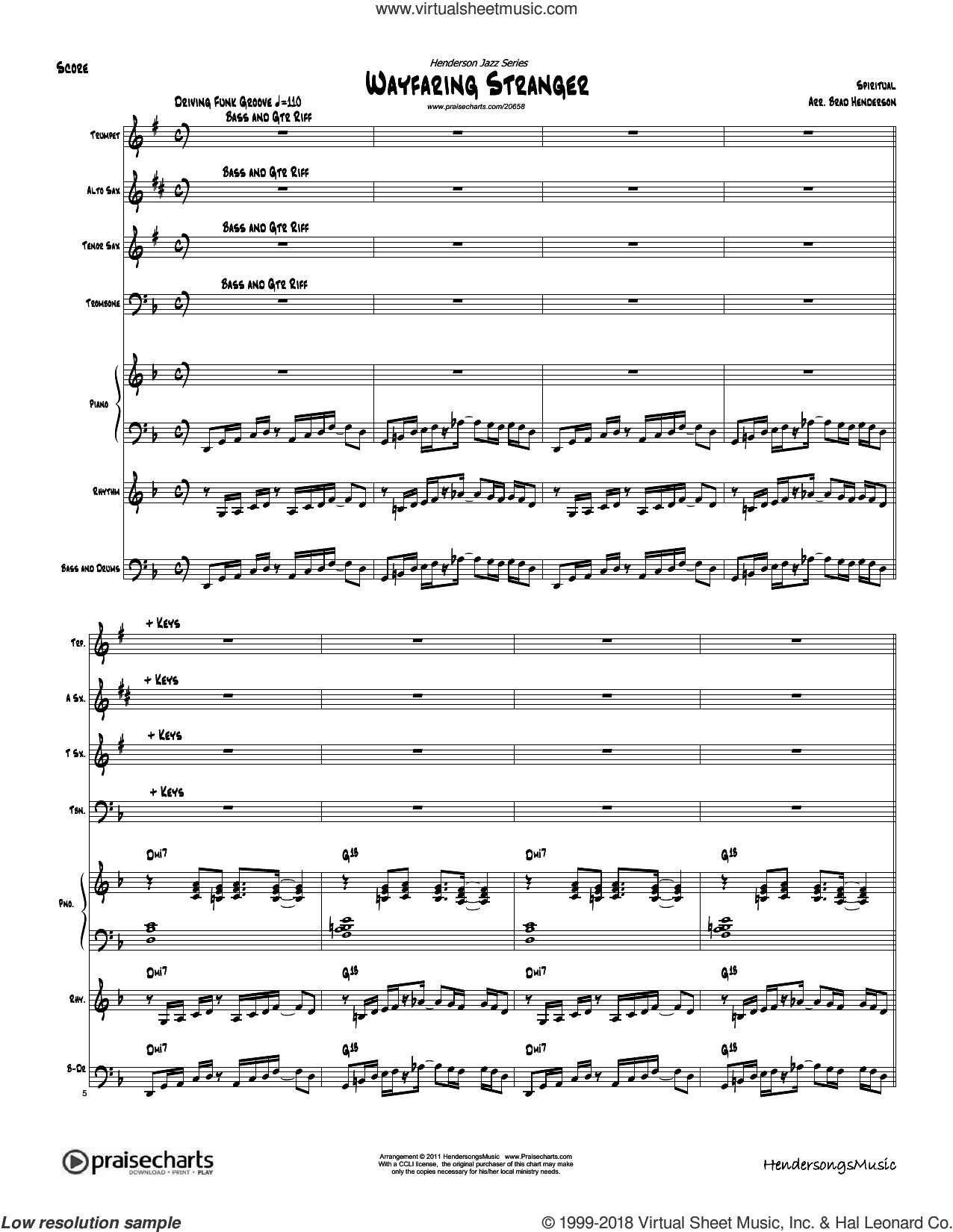 Wayfaring Stranger sheet music for concert band (orchestration) by Brad Henderson, intermediate. Score Image Preview.