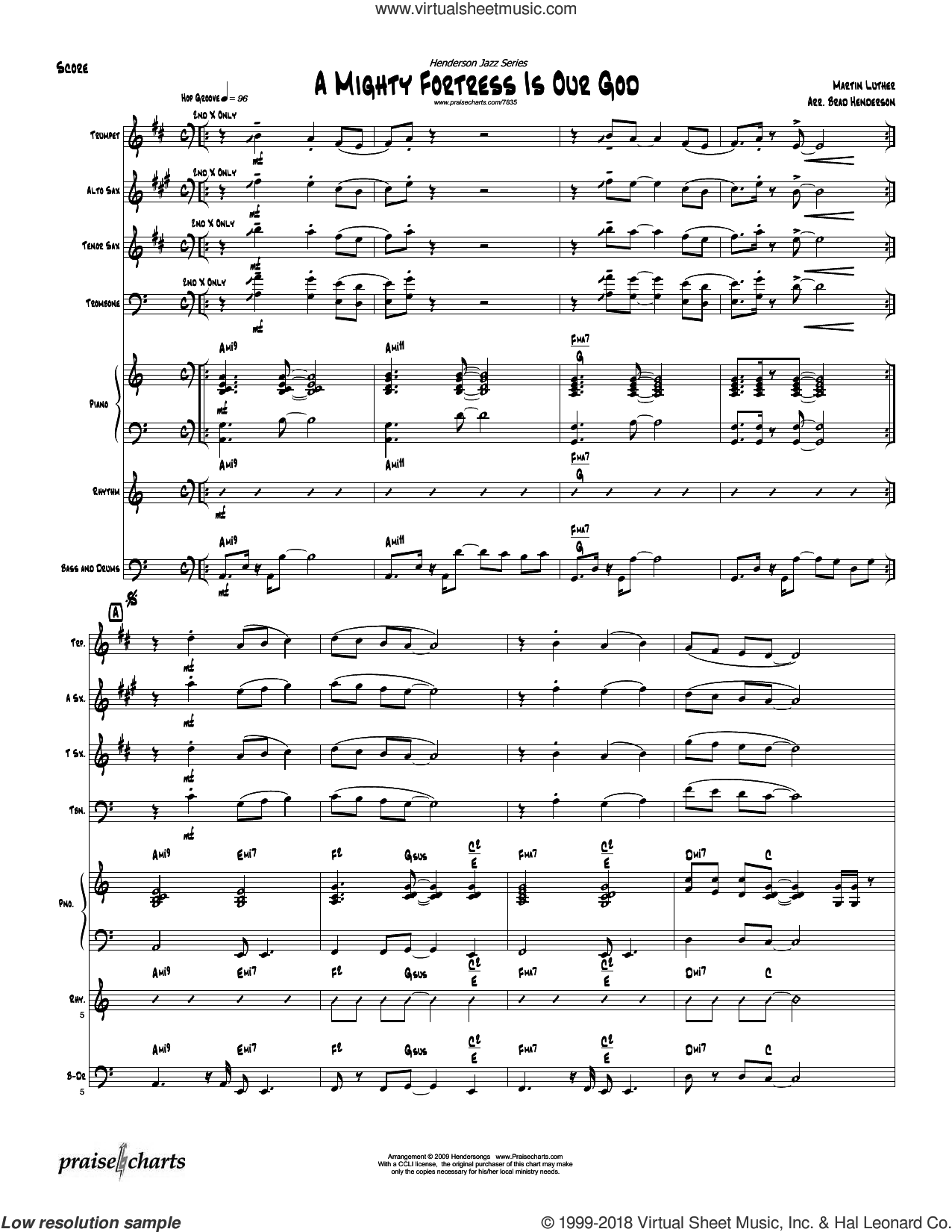 A Mighty Fortress sheet music for jazz band (orchestration) by Brad Henderson and Martin Luther. Score Image Preview.