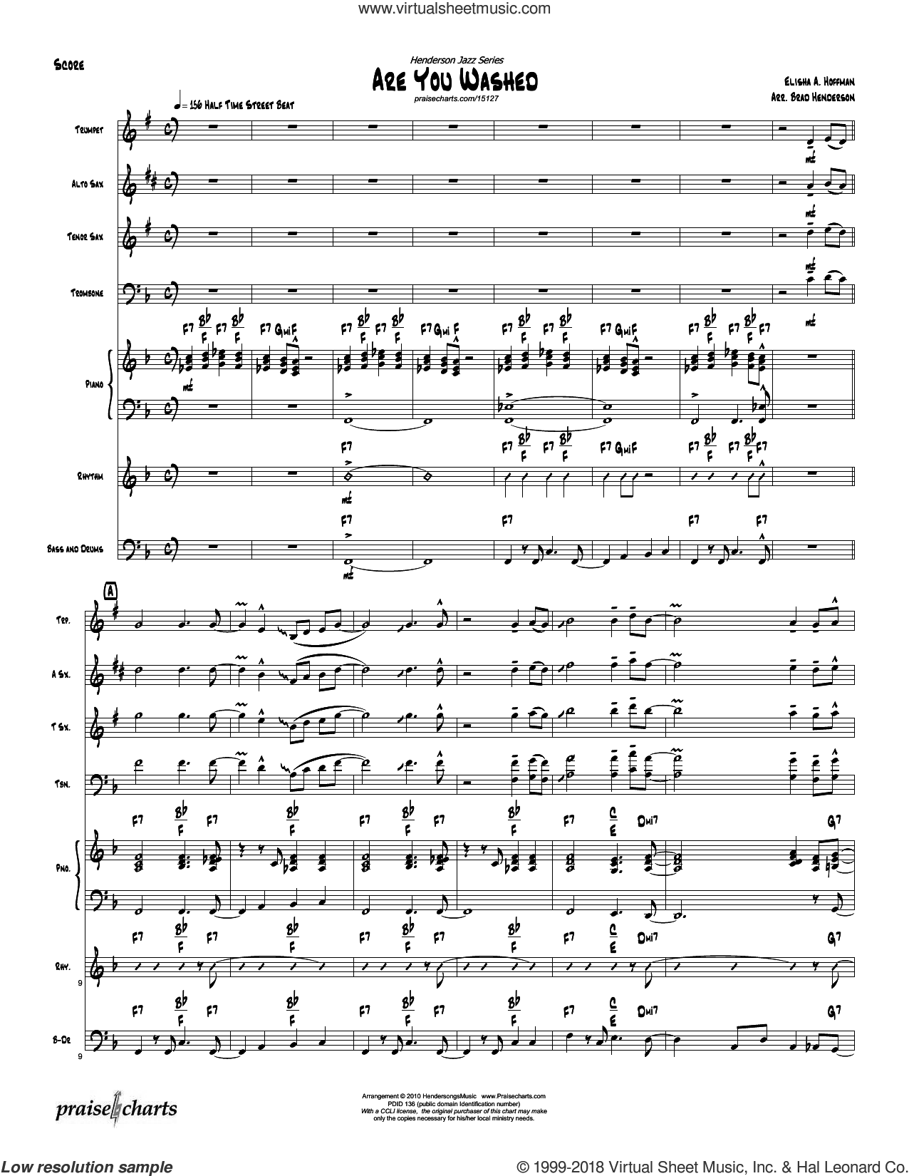Are You Washed In The Blood sheet music for jazz band (orchestration) by Brad Henderson and Elisha Hoffman. Score Image Preview.