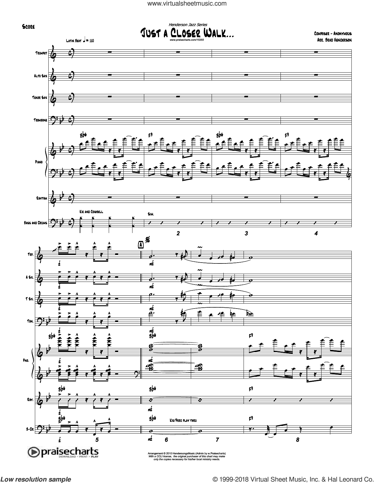 Just A Closer Walk sheet music for concert band (orchestration) by Brad Henderson, intermediate skill level