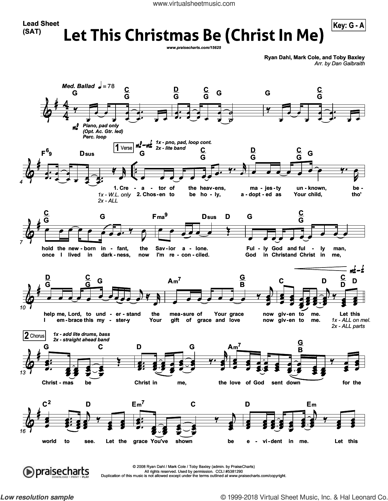Galbraith - Let This Christmas Be (Christ In Me) sheet music for concert  band (orchestration)