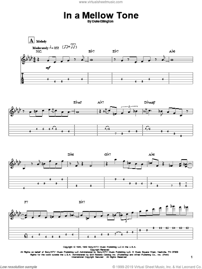 In A Mellow Tone sheet music for guitar (tablature, play-along) by Milt Gabler, Joe Pass and Duke Ellington. Score Image Preview.
