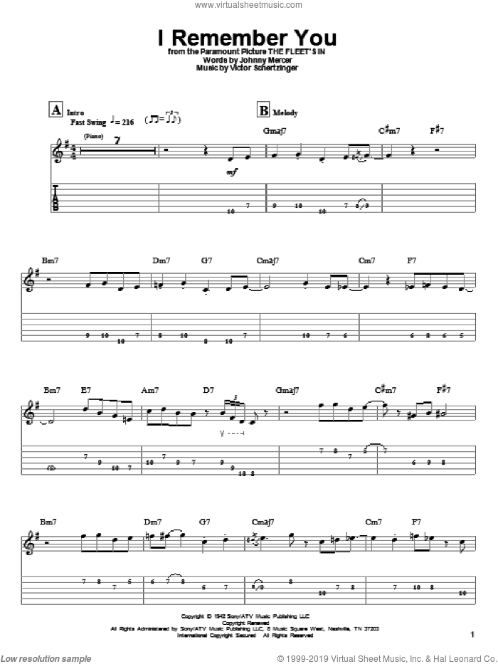 I Remember You sheet music for guitar (tablature, play-along) by Tal Farlow, Jo Stafford, Johnny Mercer and Victor Schertzinger, intermediate skill level